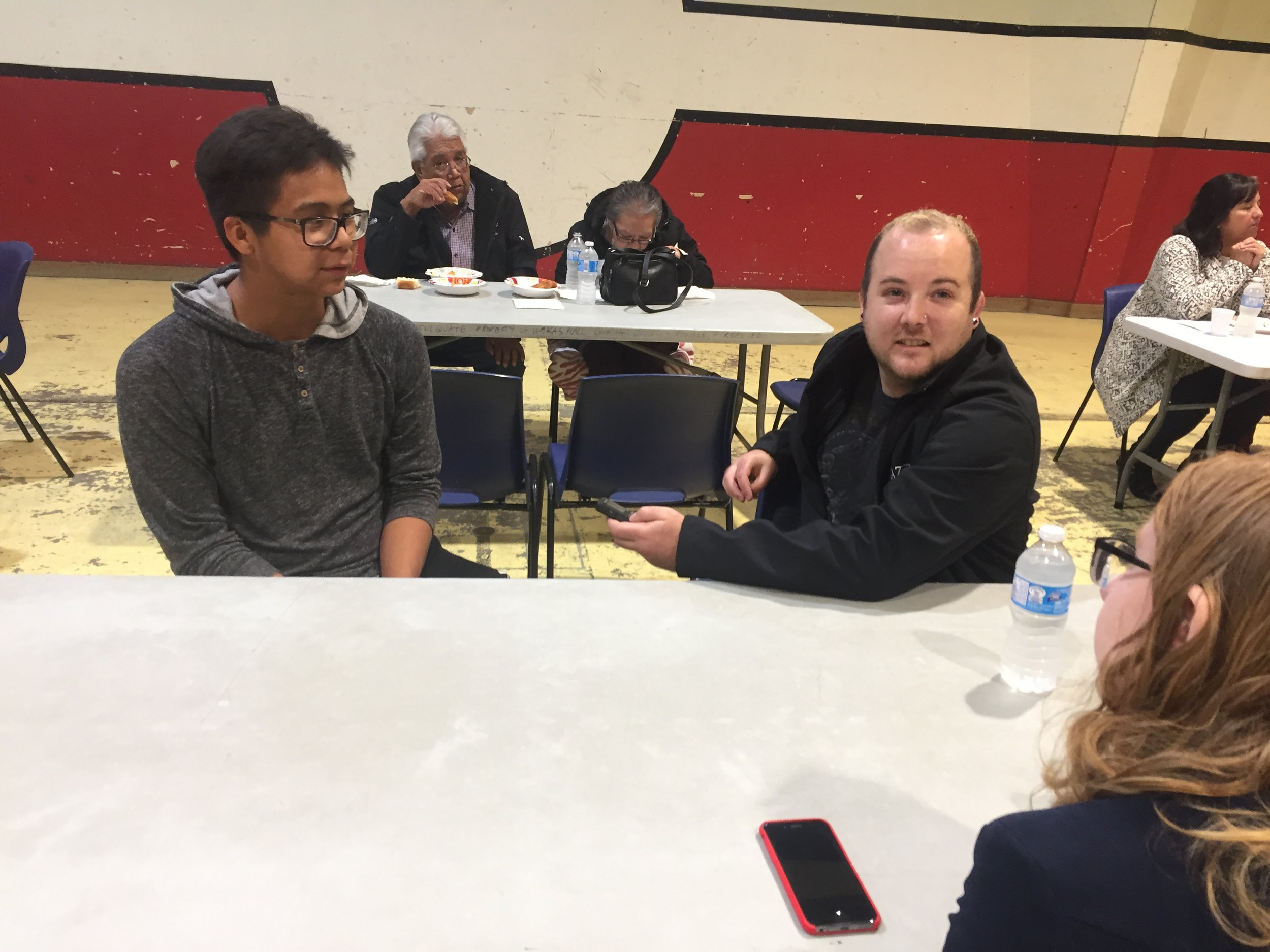 Kayle is interviewed by the North Island Gazette