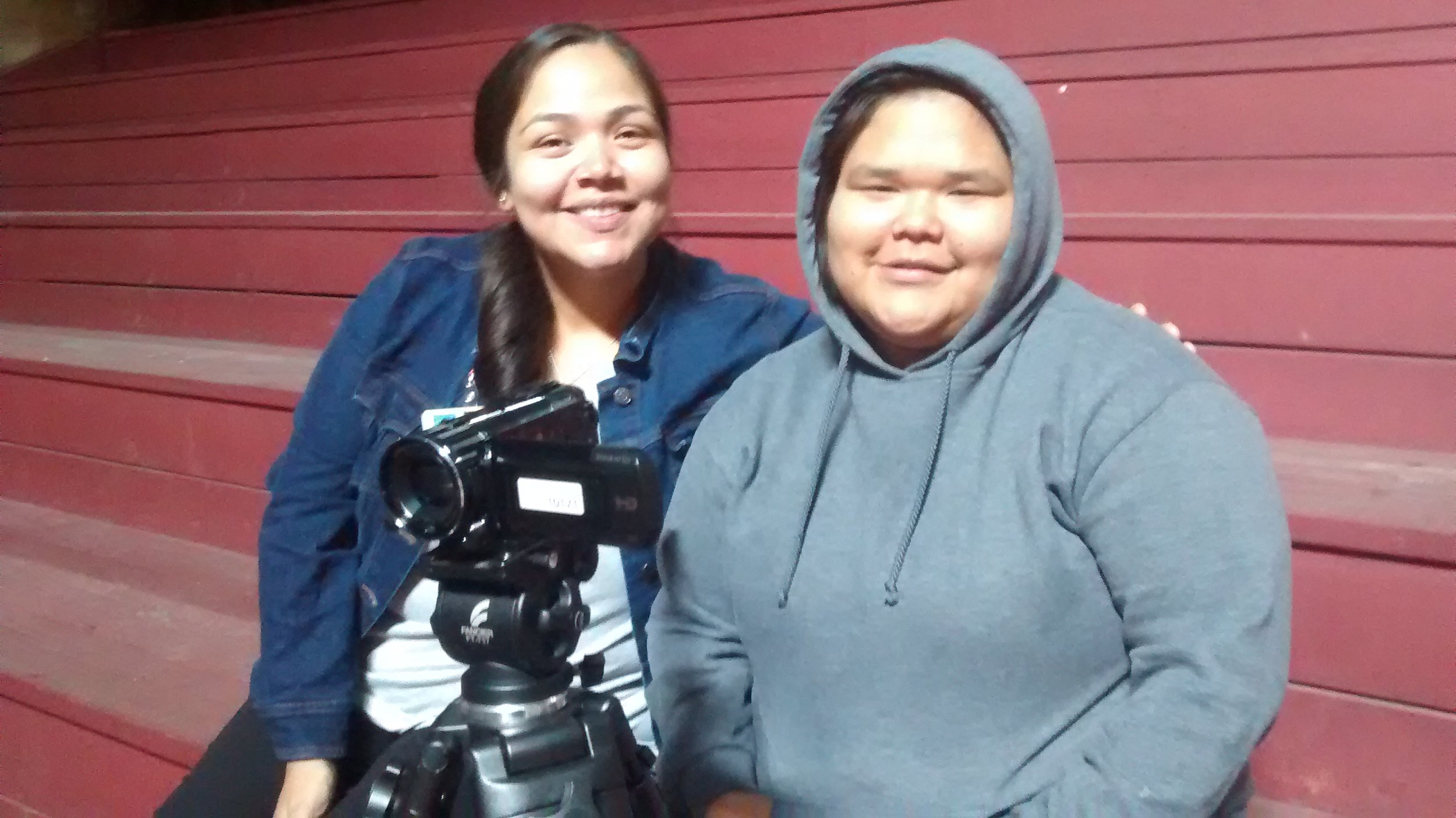 Elecia (student worker) and Haley (student filmmaker) at the practice potlatch!