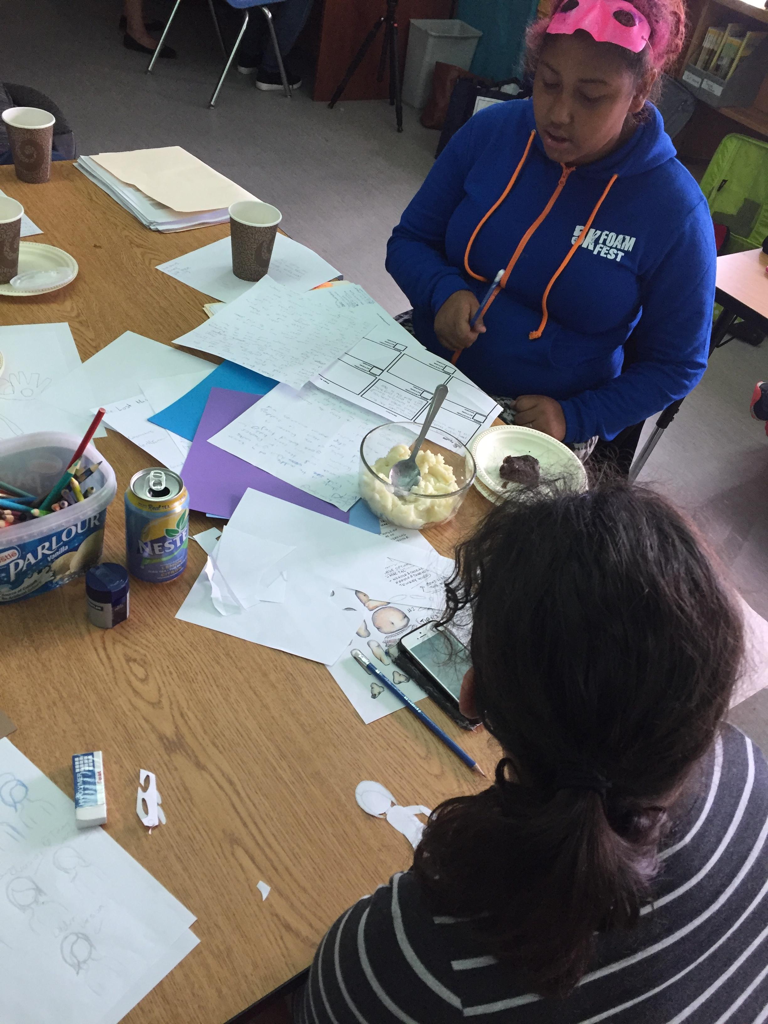 Angel and Kaiya work on story