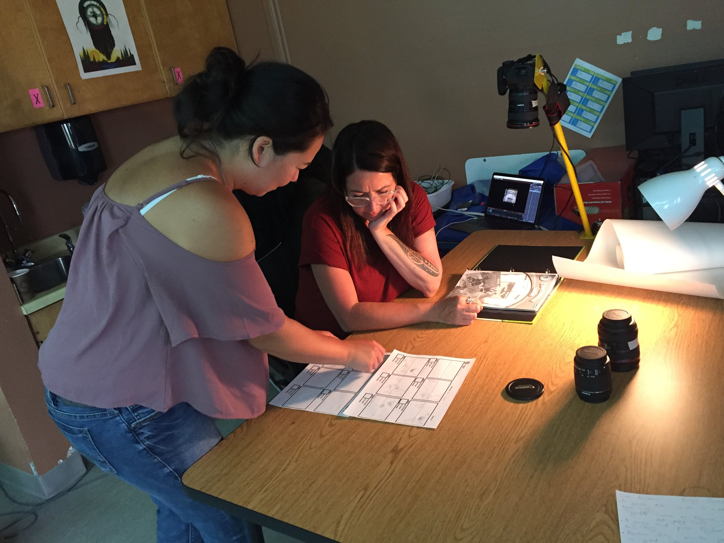 Casey and Terril work on storyboarding