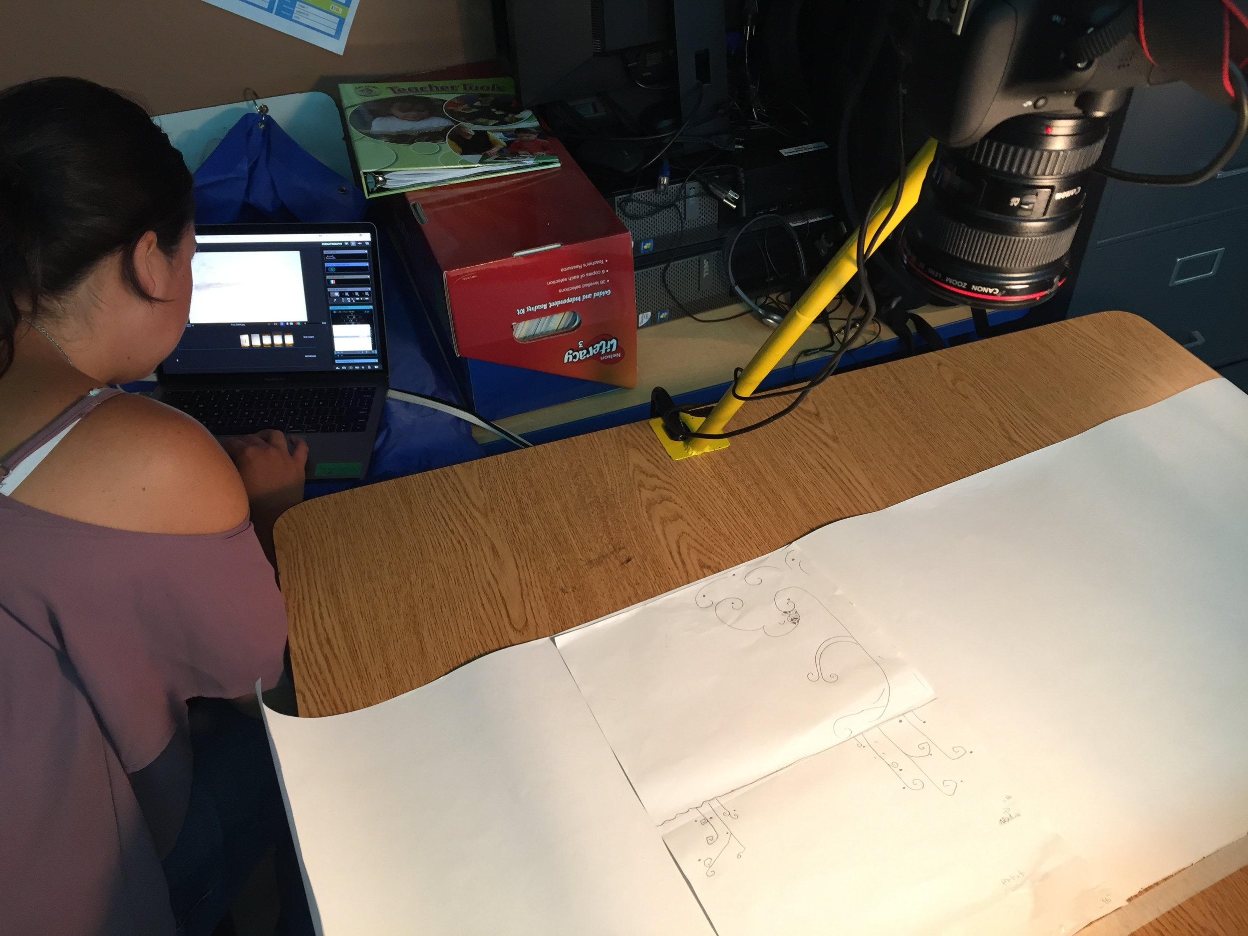 Casey at her animation station