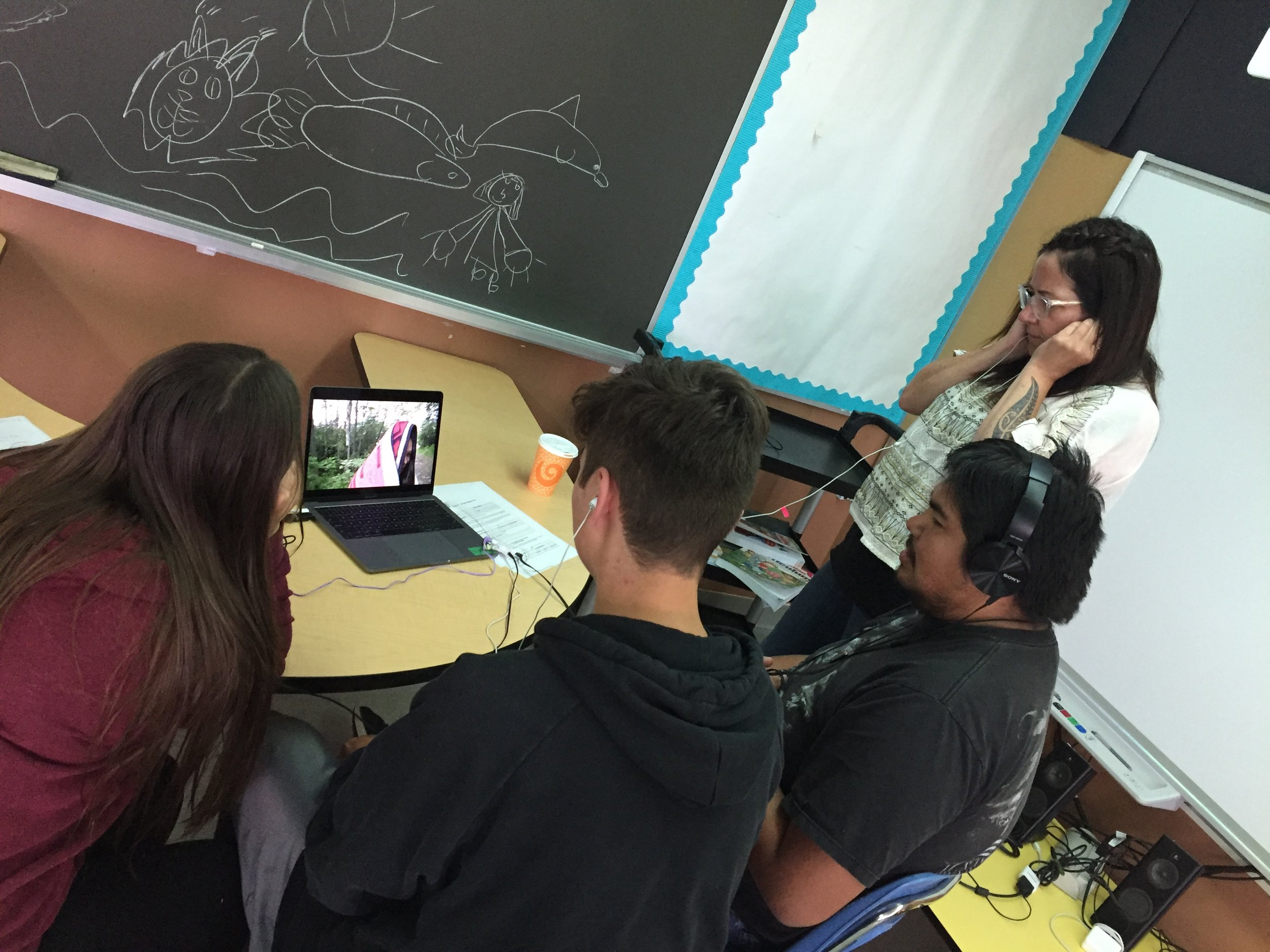 Madison, Gabe, Brad and Terril watch an edit of the horror film - new sound effects have been added!