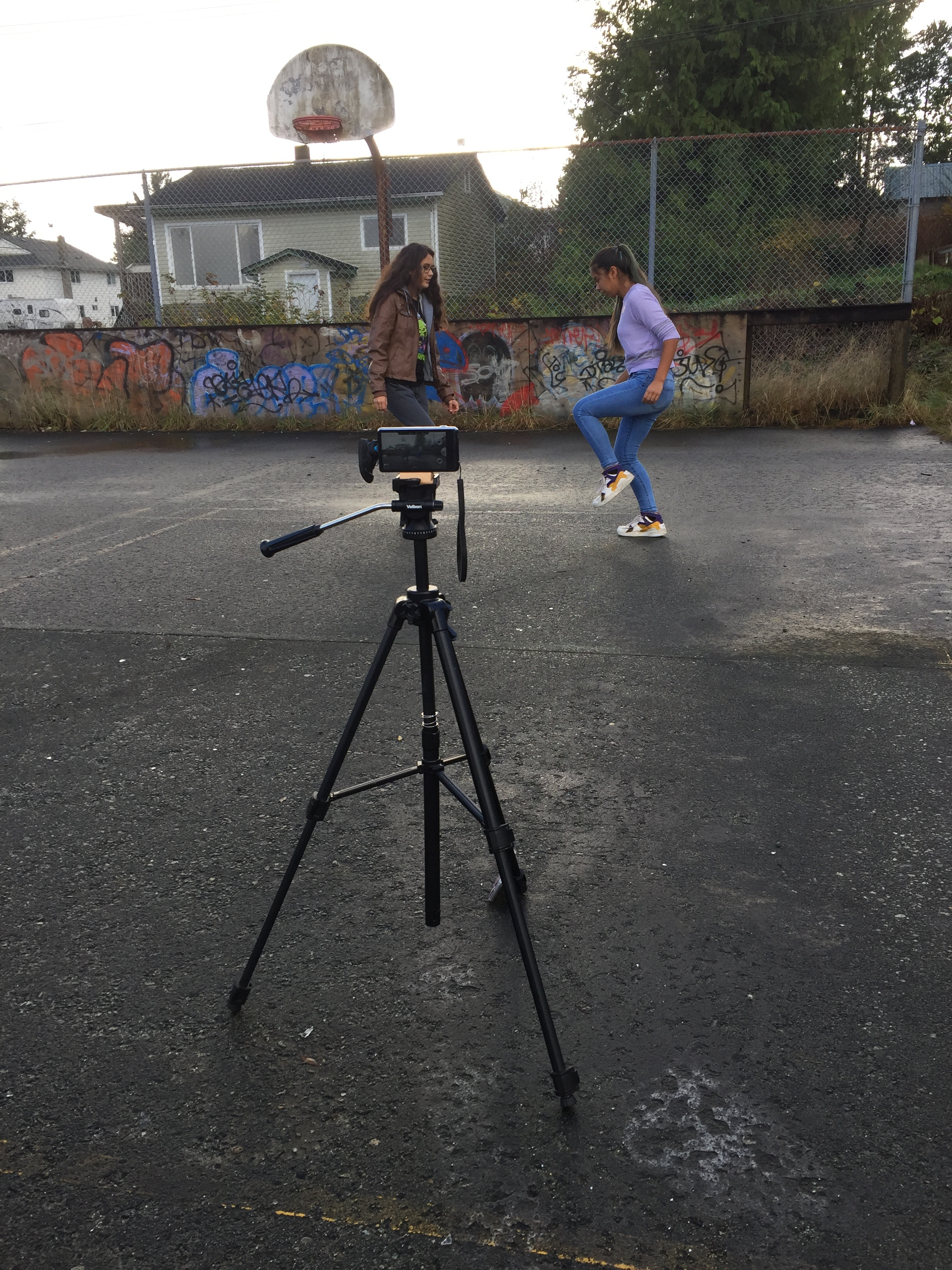 Filming the dance in the basketball court