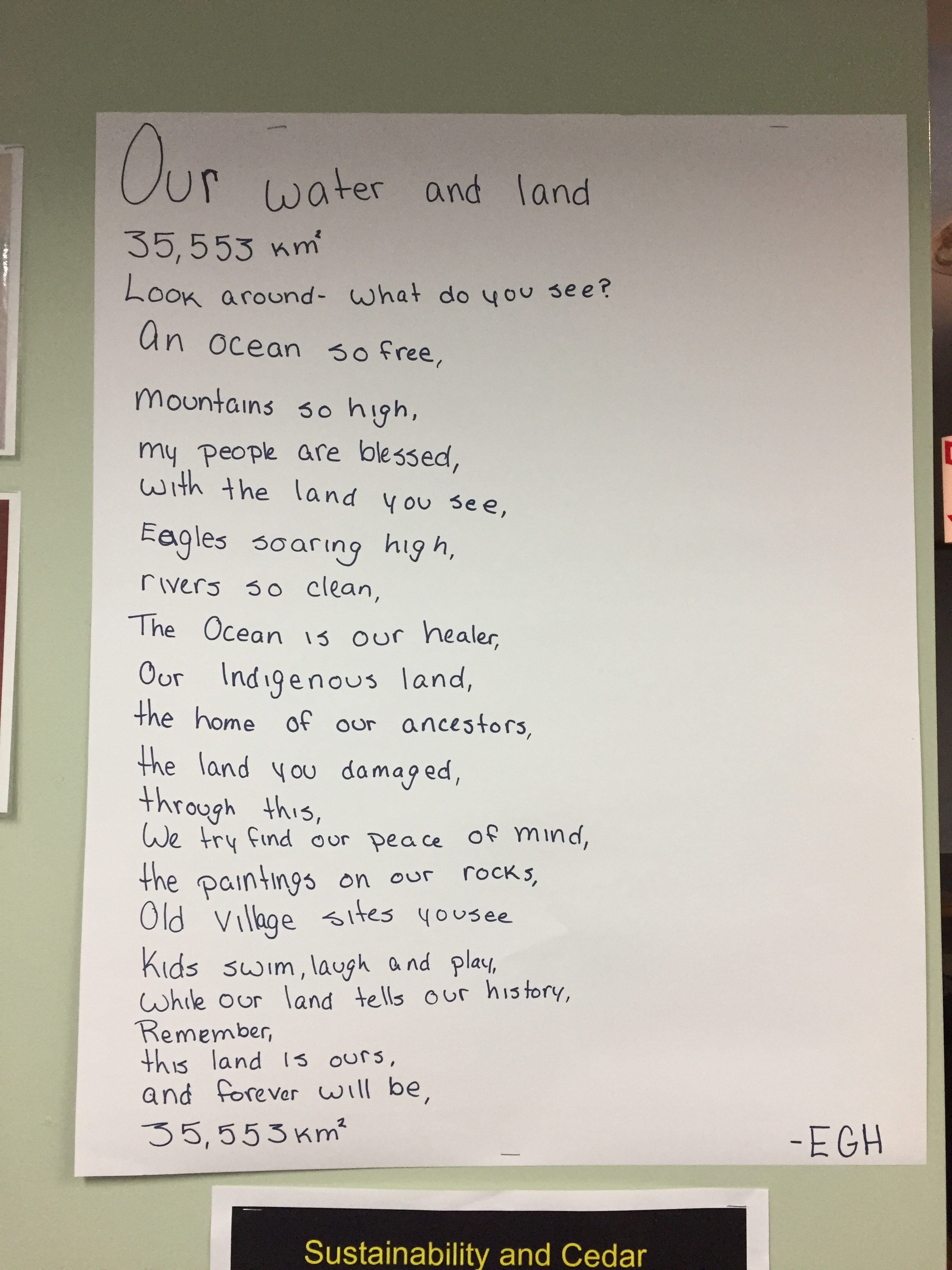 A poem by Elyssa that proudly hangs in the youth centre.