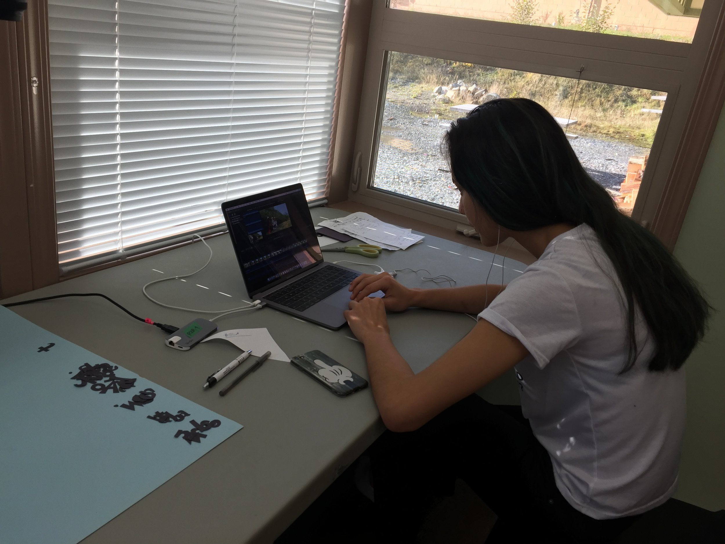 Bella works on the details of sound editing