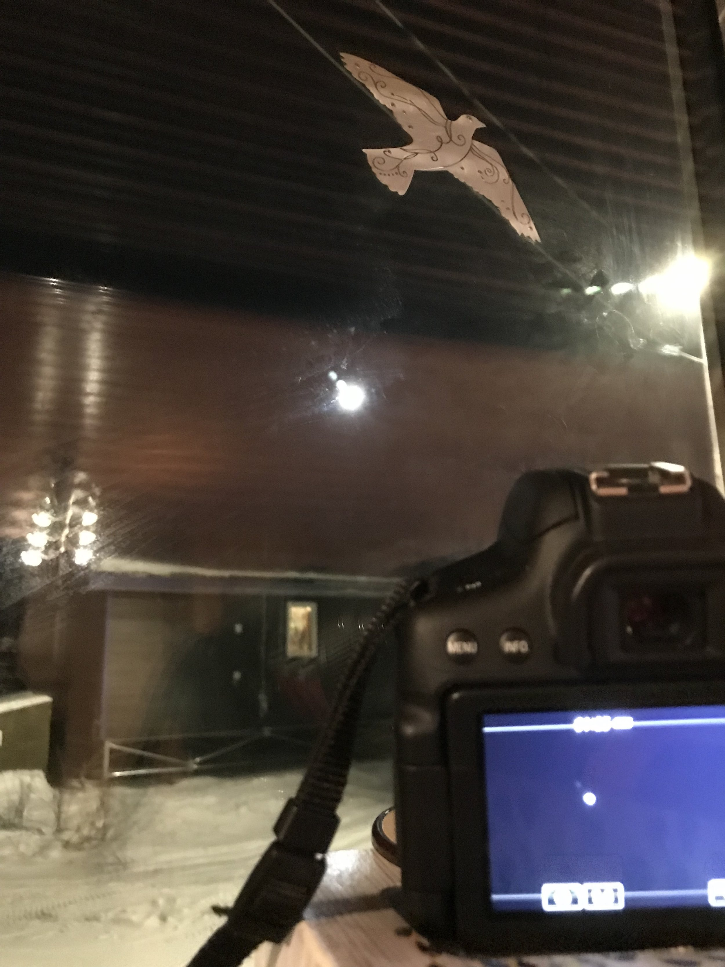 Setting the camera up, out the window and at an angle toward the moon!
