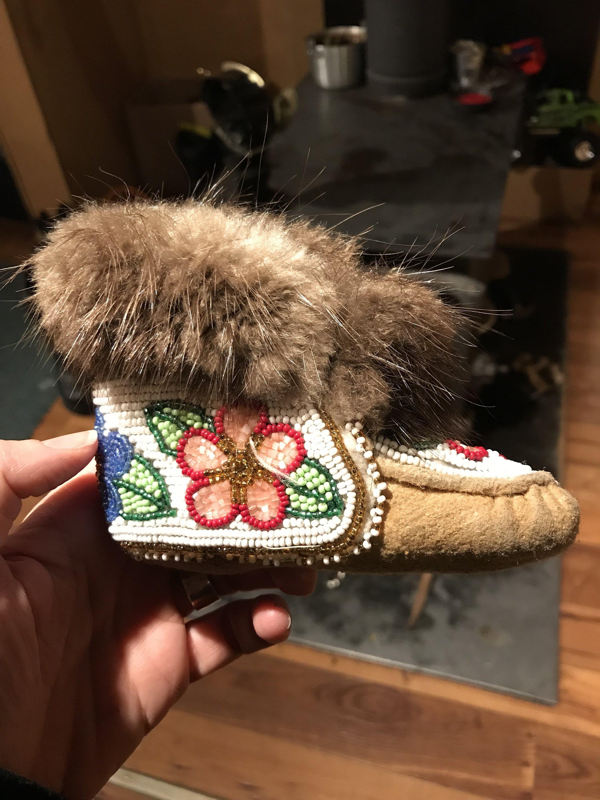 Mary Jane's grand daughter's baby beaded slipper