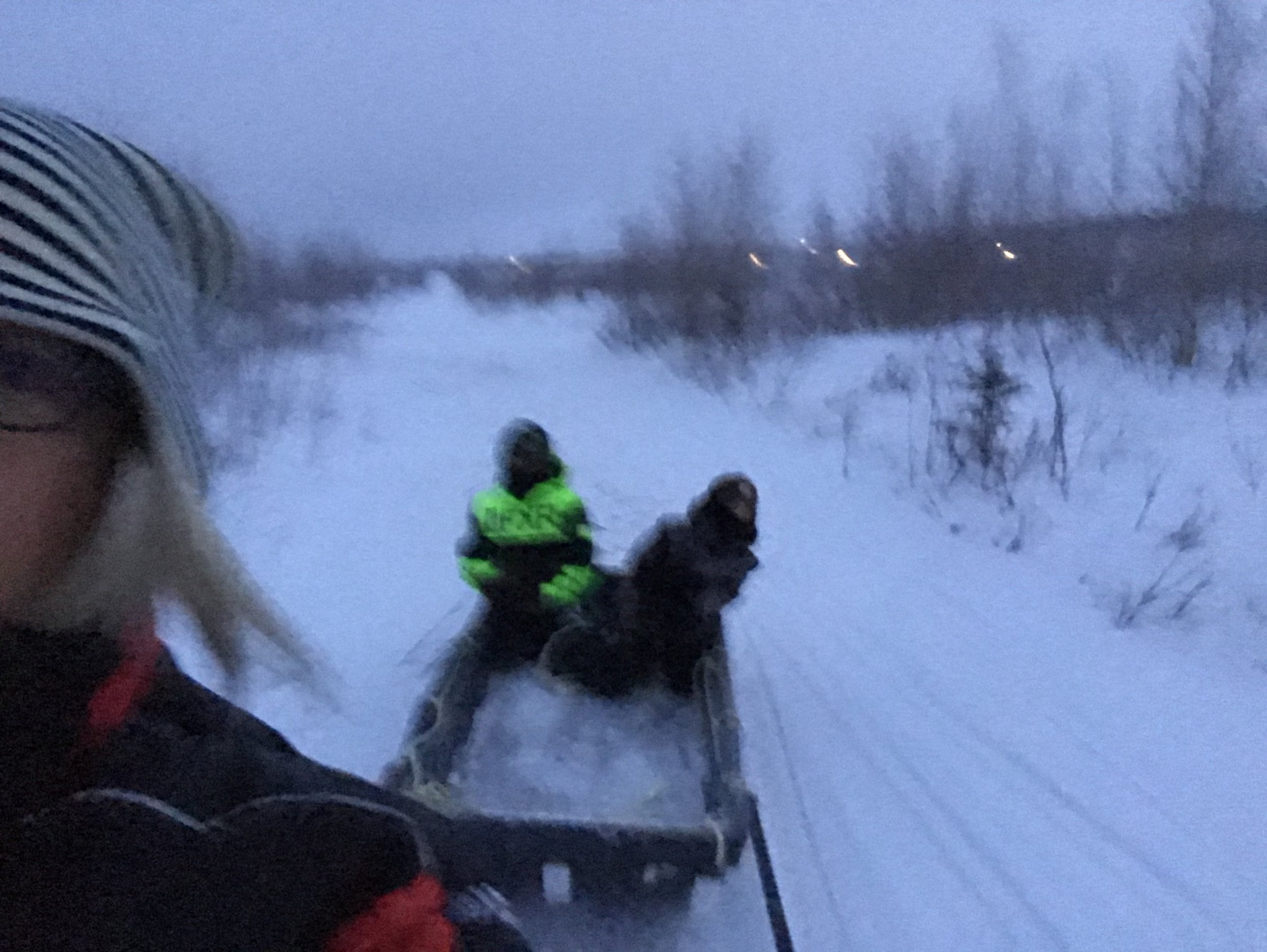 Lisa g hangs on for dear life, while Desmond and Jr are in the sled!