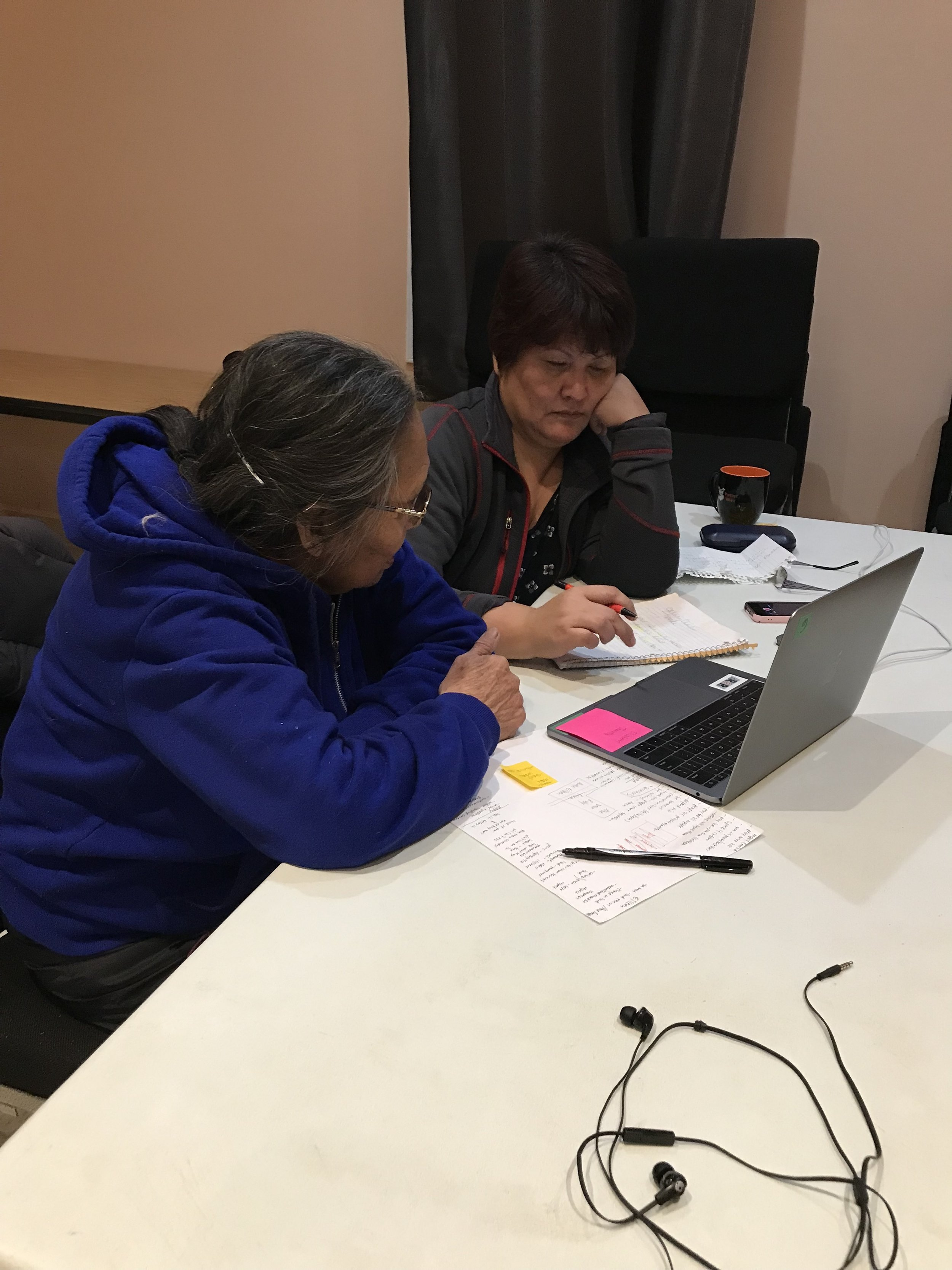 Liz's mom, Mary, helps with Gwich'in translation