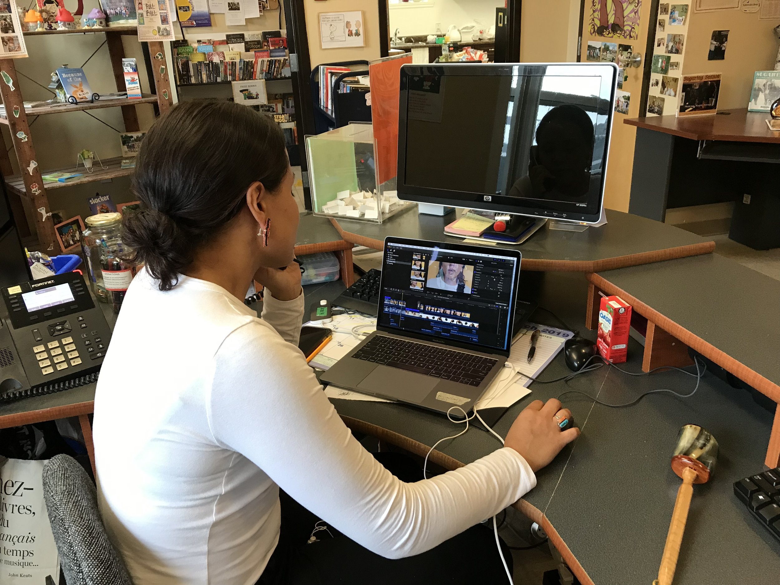 Answering phones and editing films, just a normal day at the Kahnawake Library!