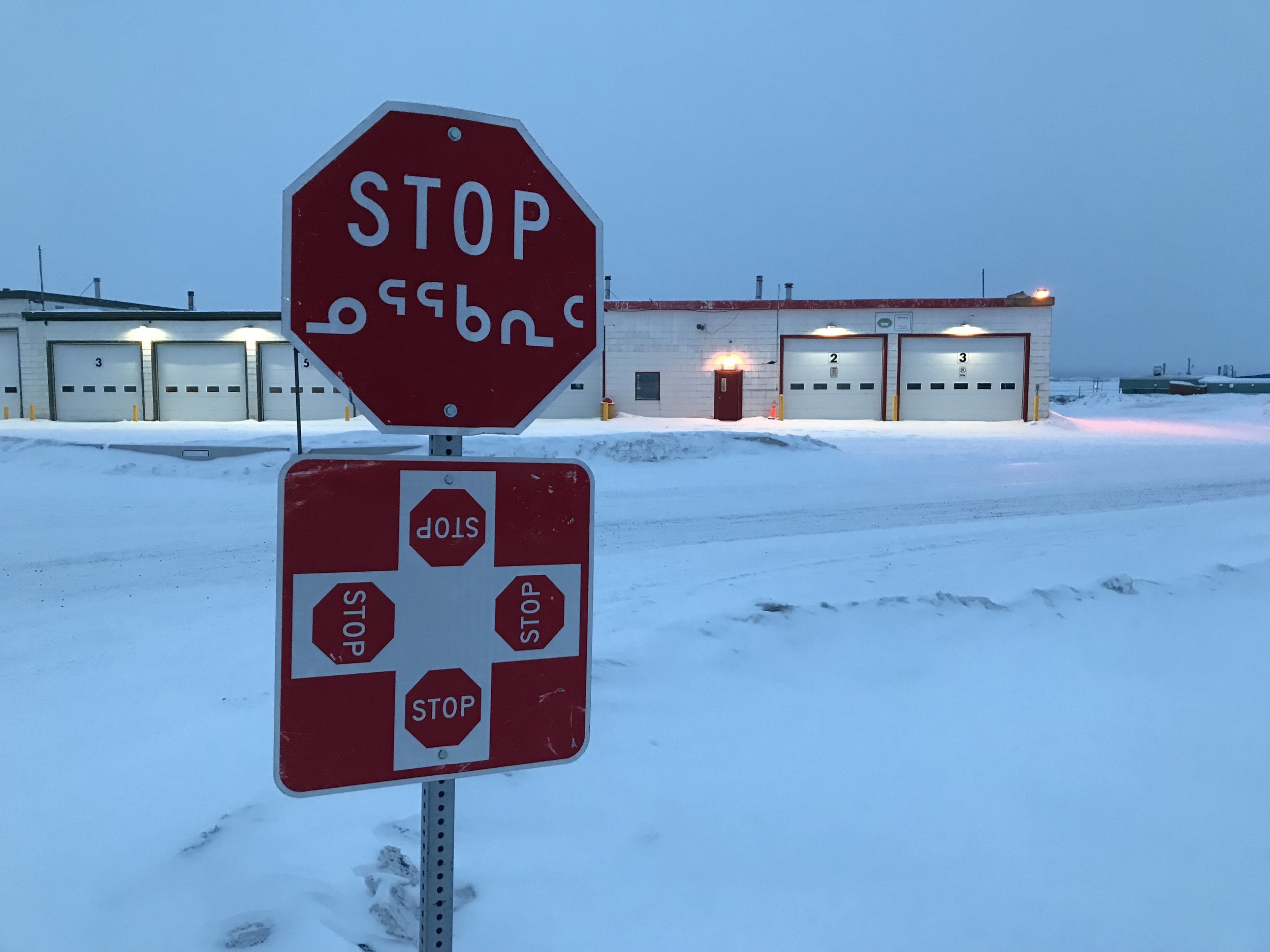 Inuktitut on the stop sign!