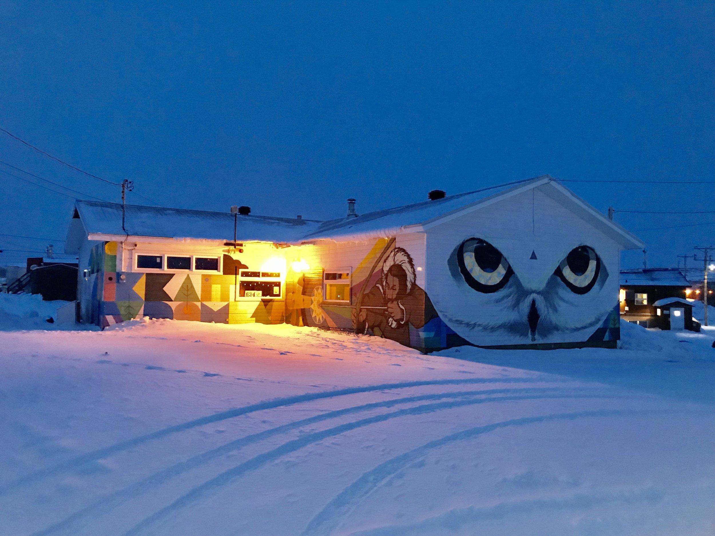 Youth Centre  mural of an Ukpik (snowy owl)