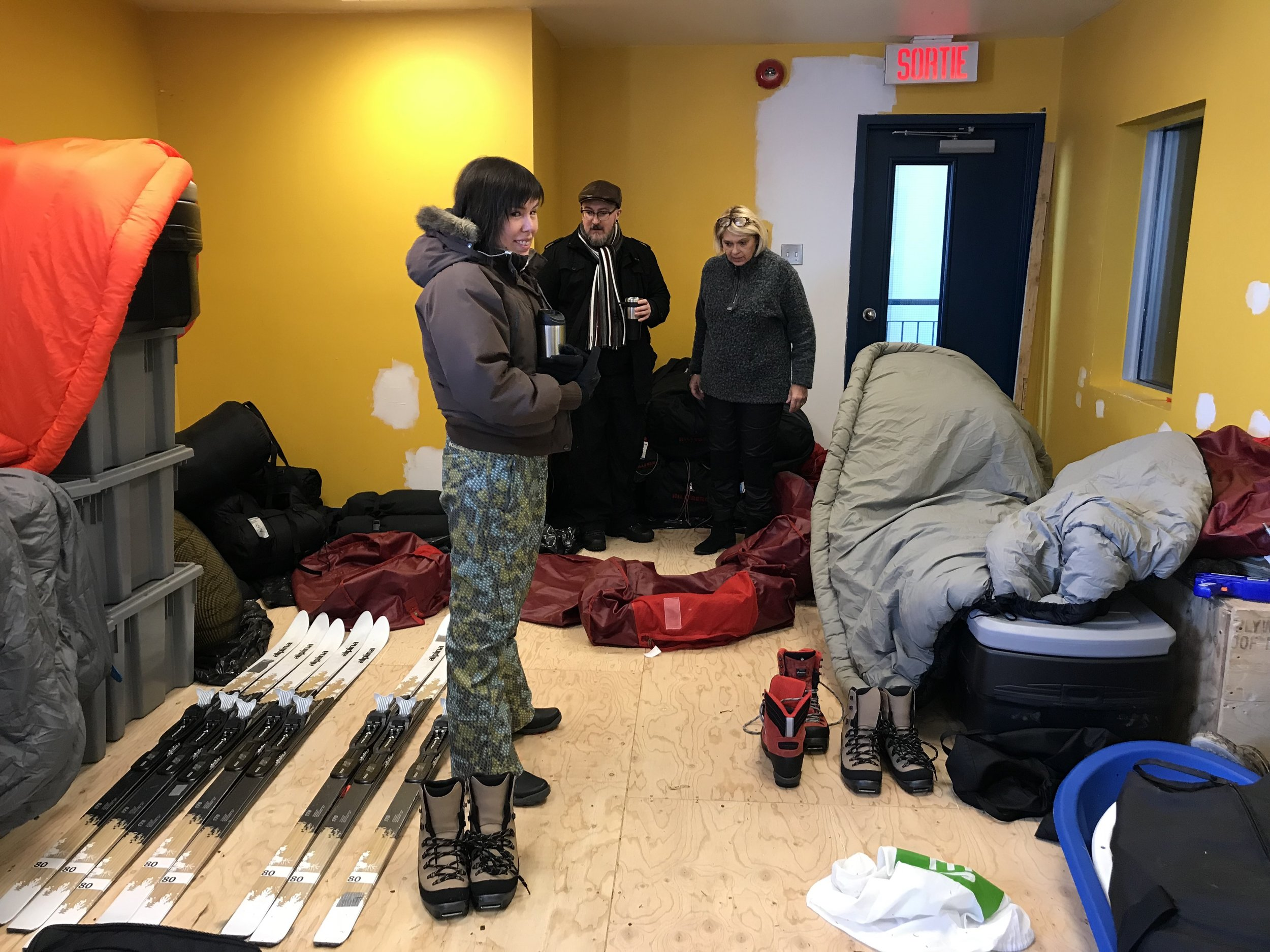 Courtney, Glenn and Dorothy check out all the state of the art Arctic Guide gear