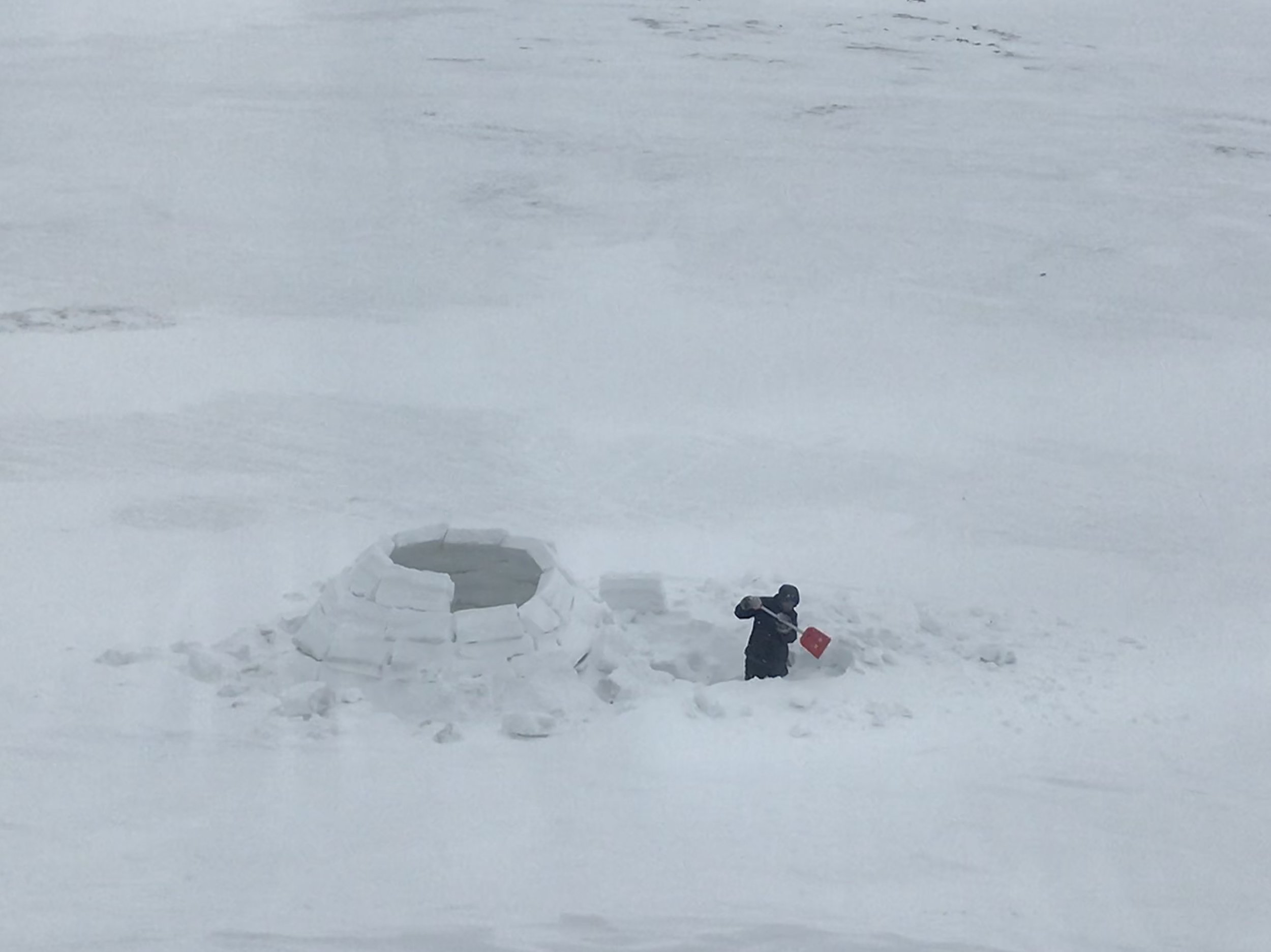 Mark keeps working on the igloo!