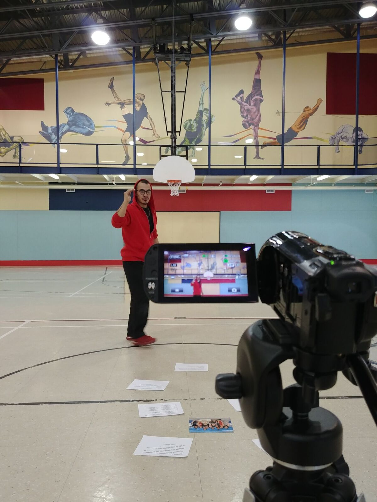 Filming in the community centre
