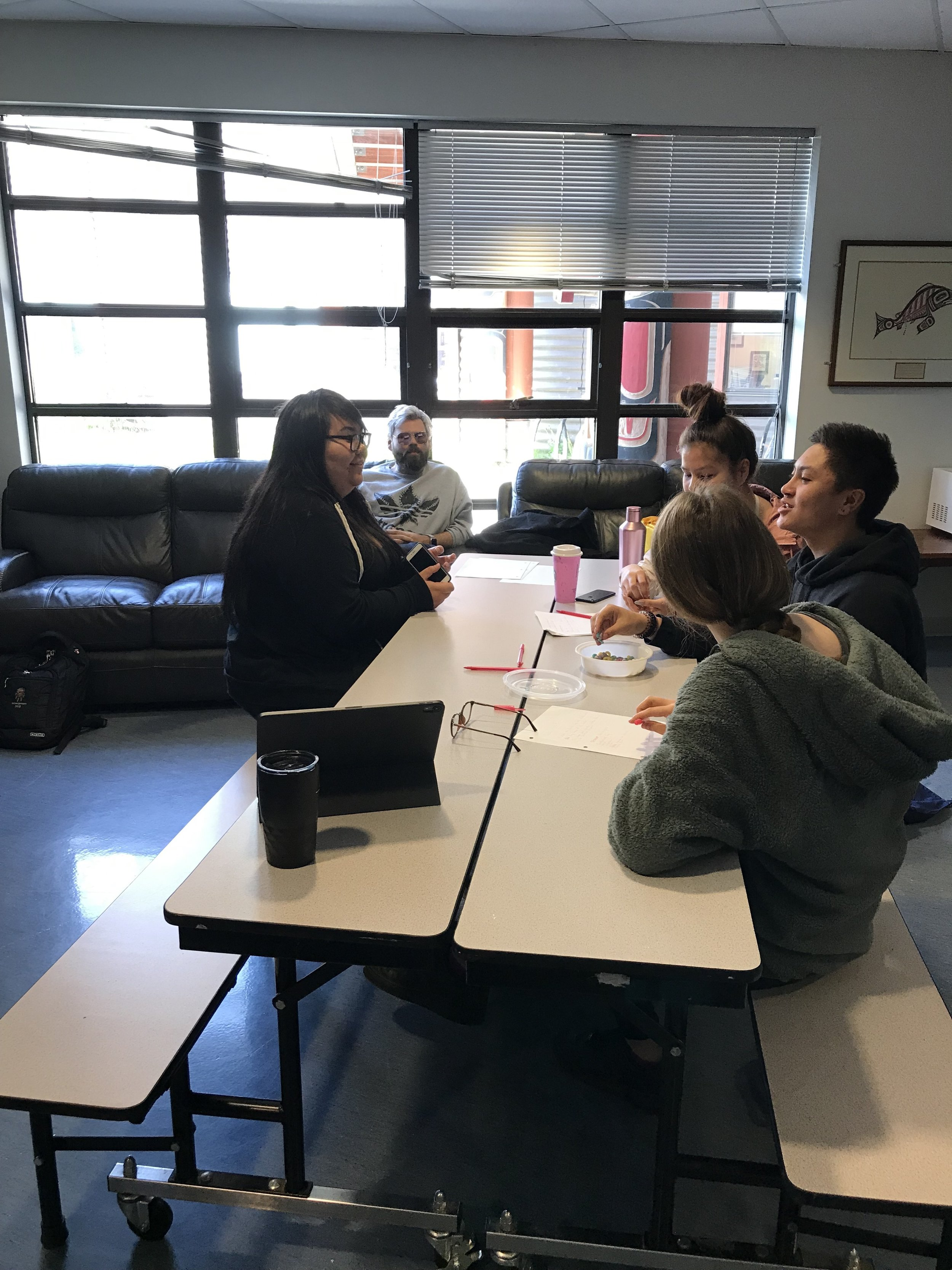 Niccola and Patrick work with Camelia, Gavin and Maggie as they brainstorm a mockumentary idea about tourists who visit Haida Gwaii