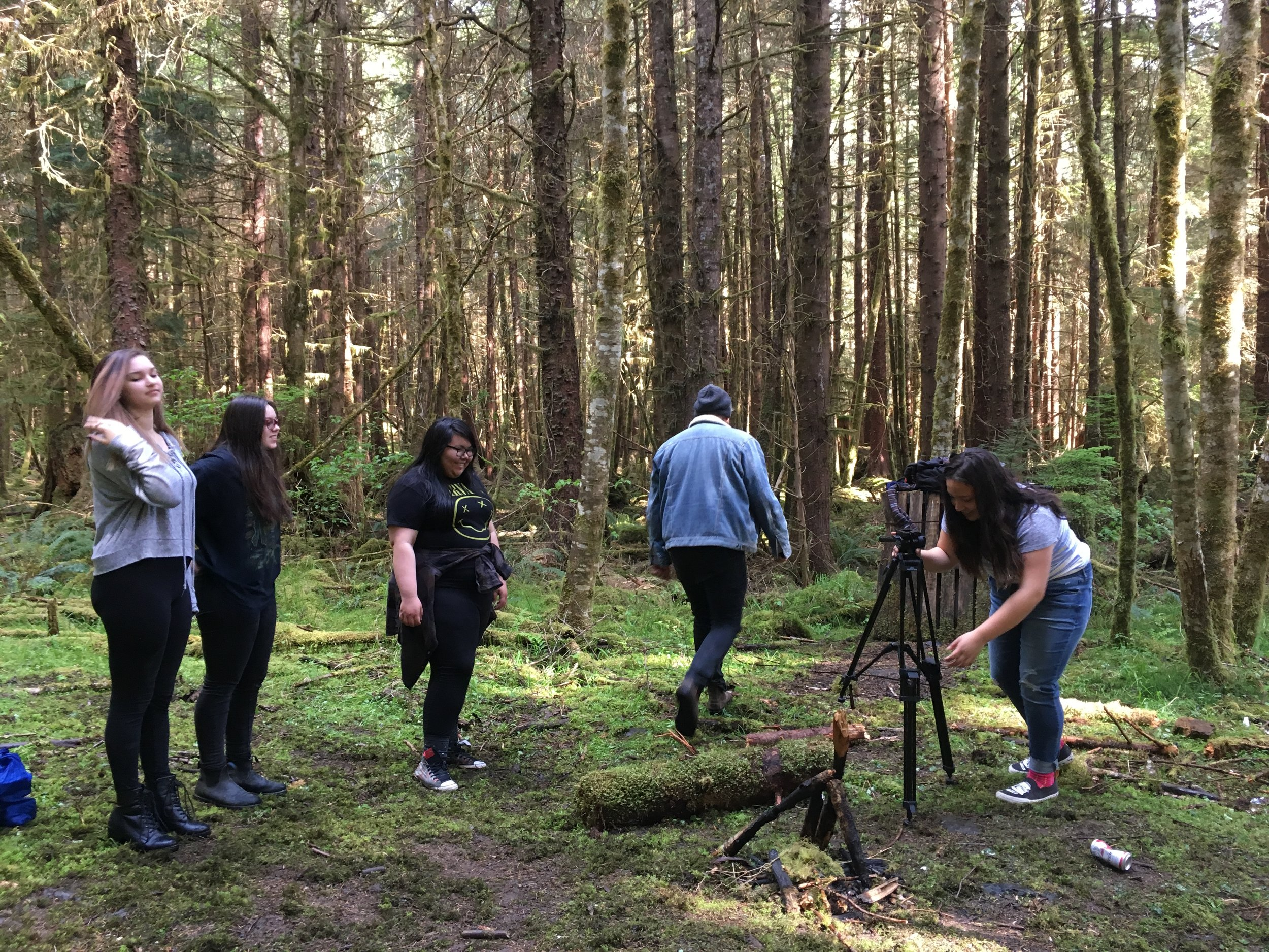 Jacey, Kaleigh, Niccola, Patrick and  Taang Guunaay get ready for the first scene of the day