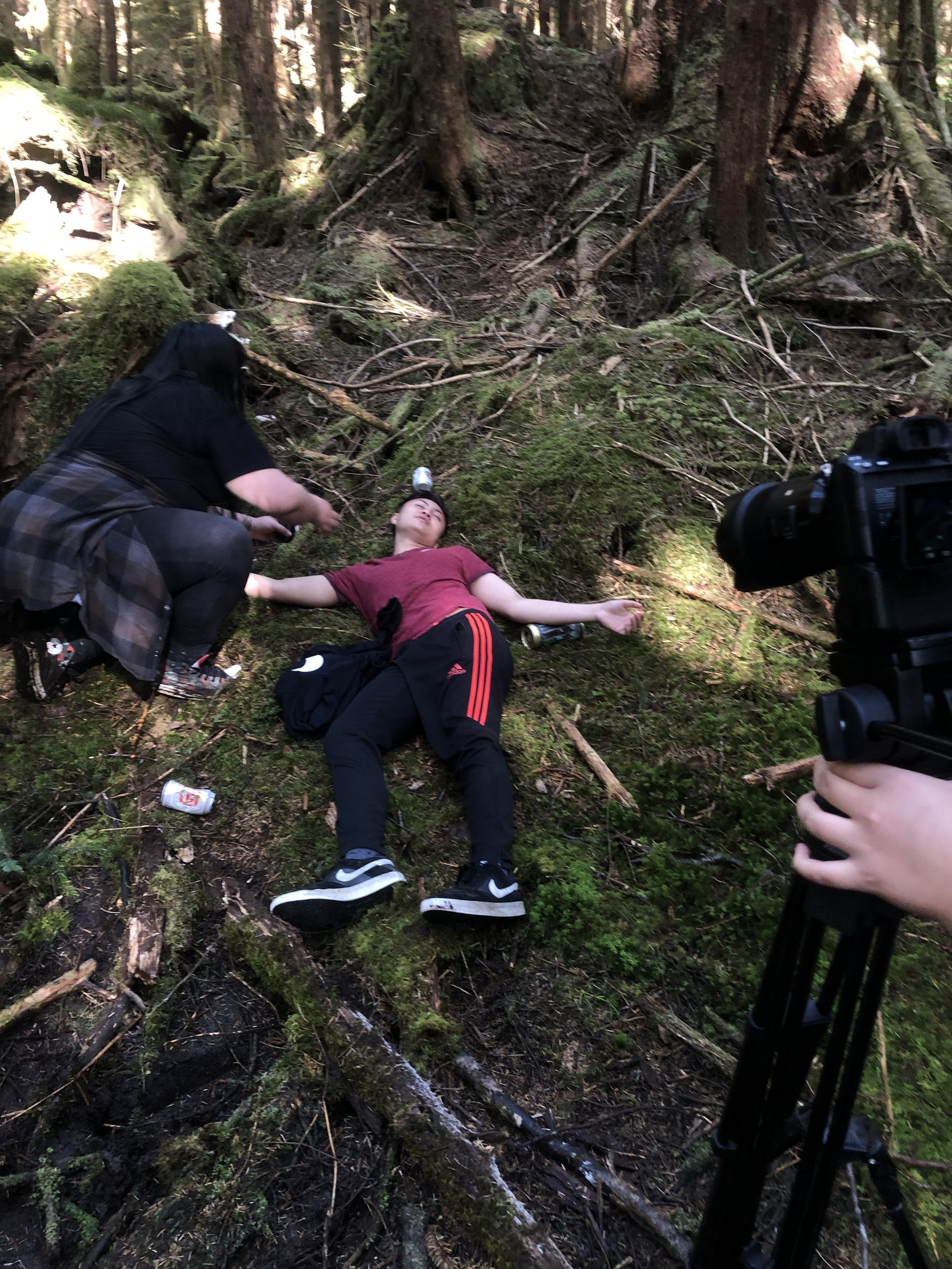 Setting up the shot. Gavin had to lie around for an hour!