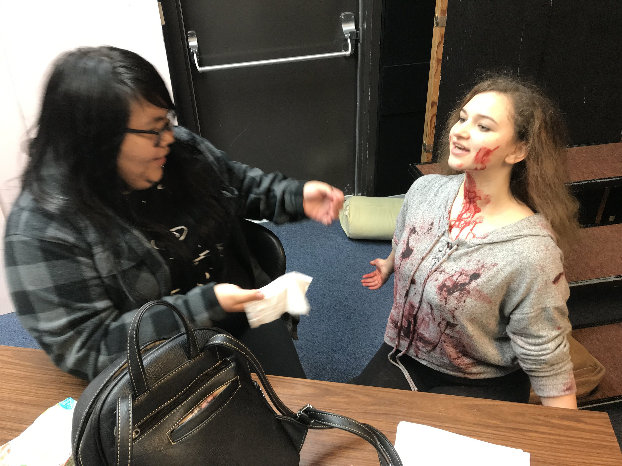 Makeup artist extraordinaire, Niccola, cleans up the sticky blood from Jacey #tasteslikepeppermint