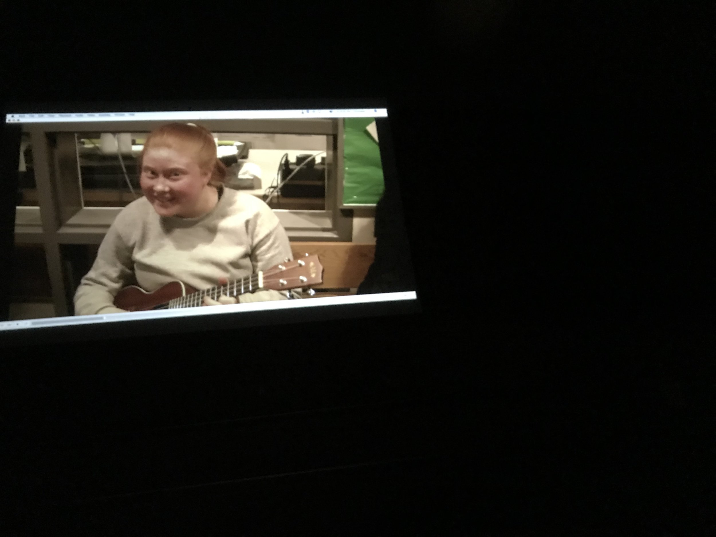 Happy Birthday Mr Reid! (Megan on the screen)