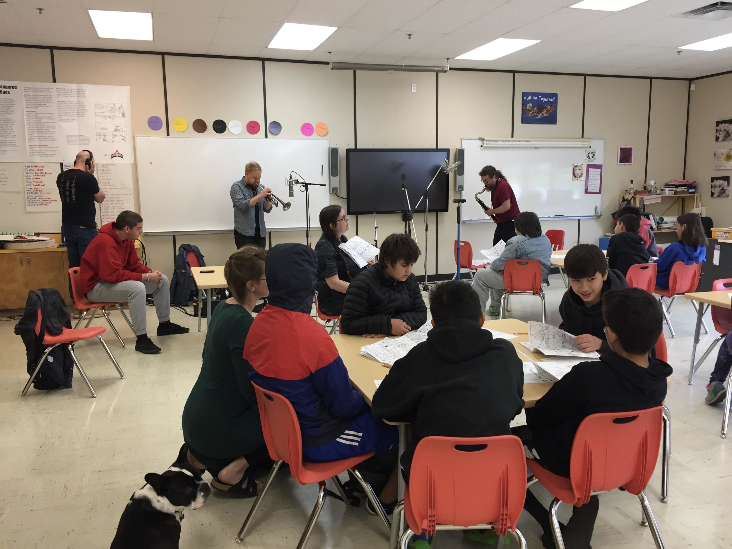 Students work with the NOW Orchestra