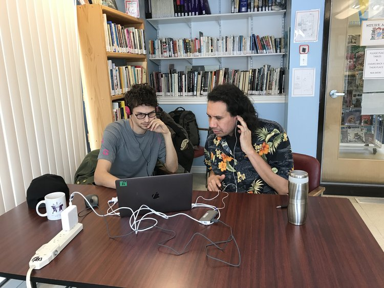 Jesse (right) works with Jackson on his edit