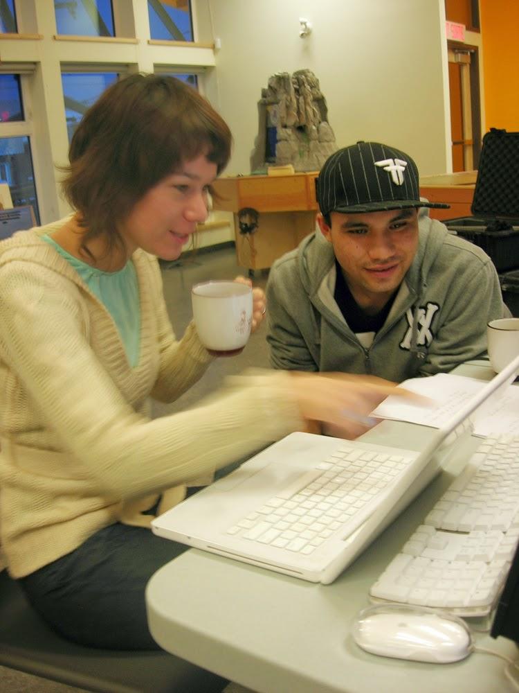 Lisa Jackson works on story with Brandon in Old Crow Yukon