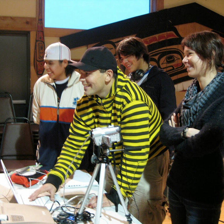 Nate (stripes) with Curtis and Tao and mentor Lisa Jackson