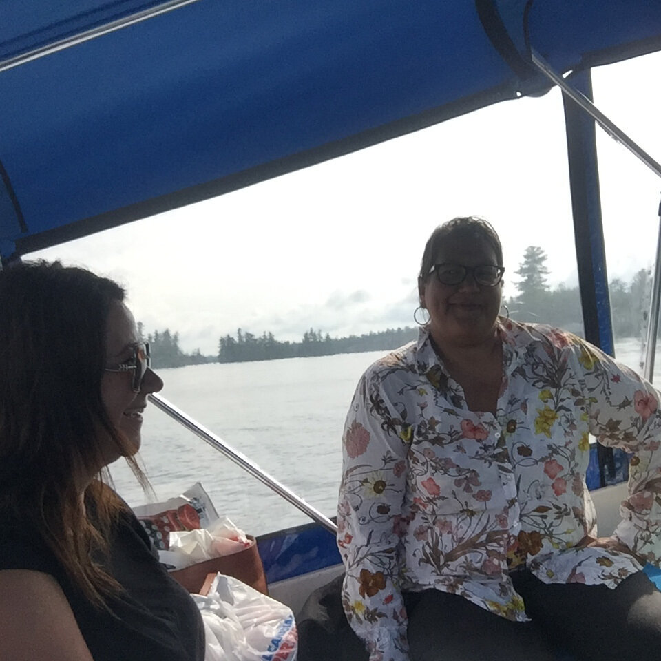 Darlene (right) and Terril on their way to Bear Island