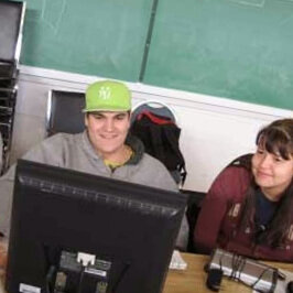 Kirsten (right) shows Steve the latest edit in Hazelton