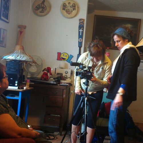 Barb (right) works with Roberta as she interviews her grandmother, Betty