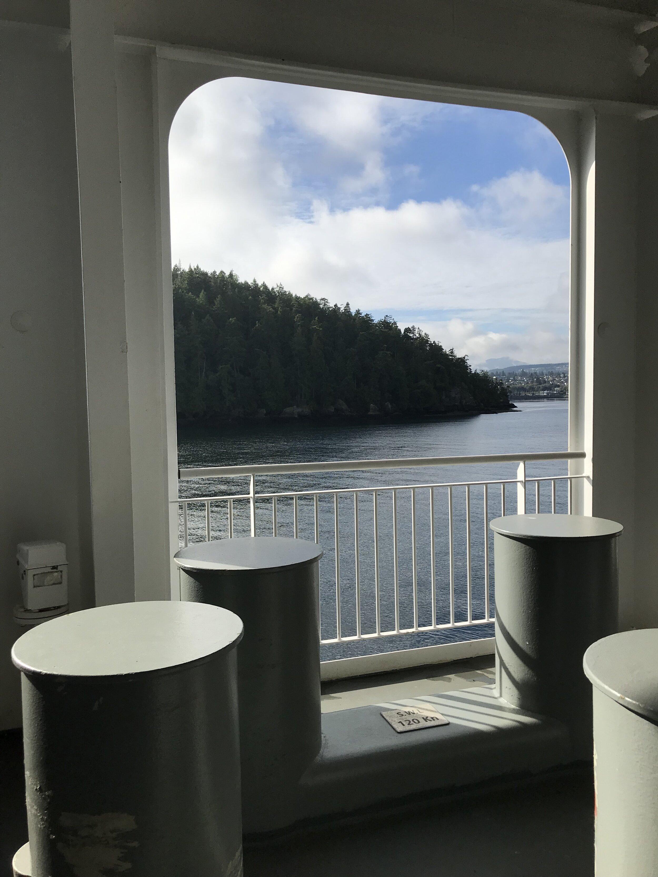 on the ferry, nanaimo peeks around the corner