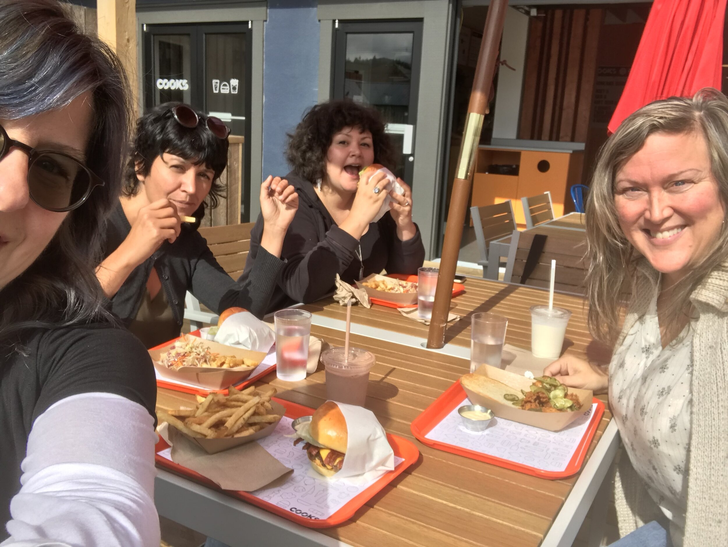 lunch with previous our world mentor julie (right) at cooks burger shack