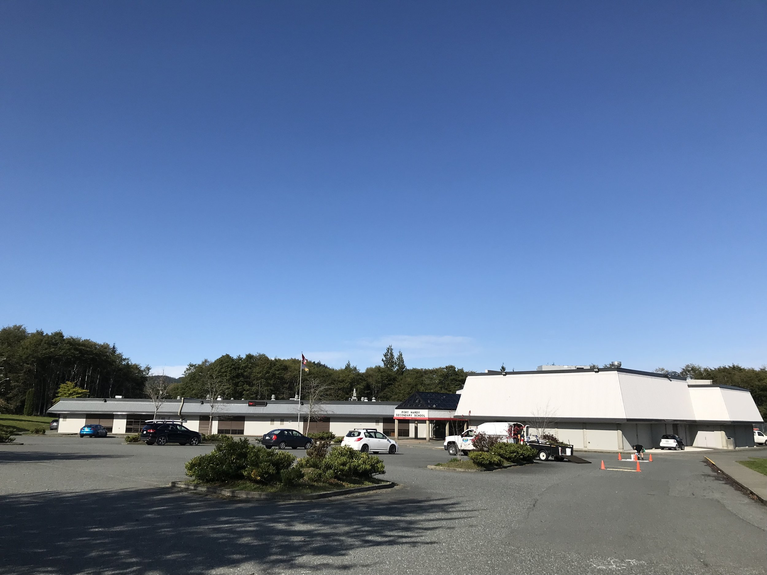Blue skies surround Port Hardy Secondary
