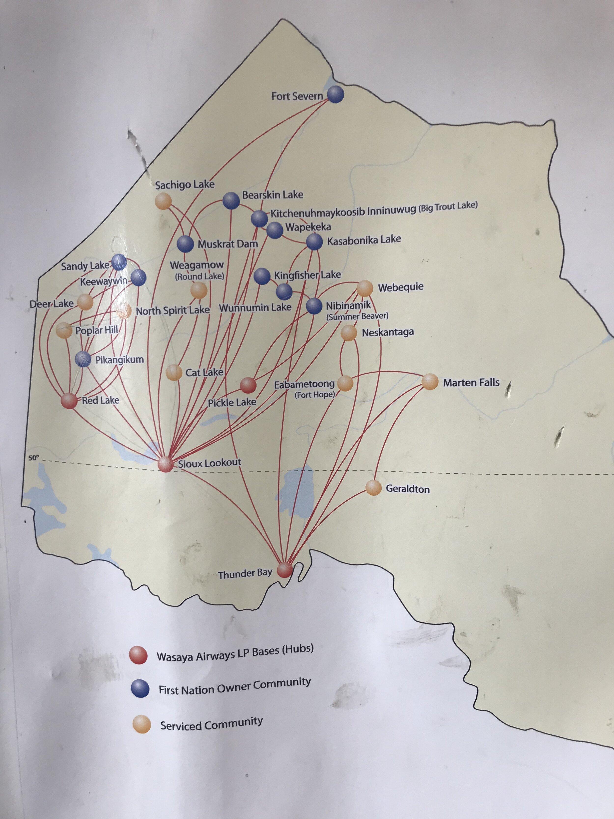 Wasaya flight paths…shows location of Wapekeka
