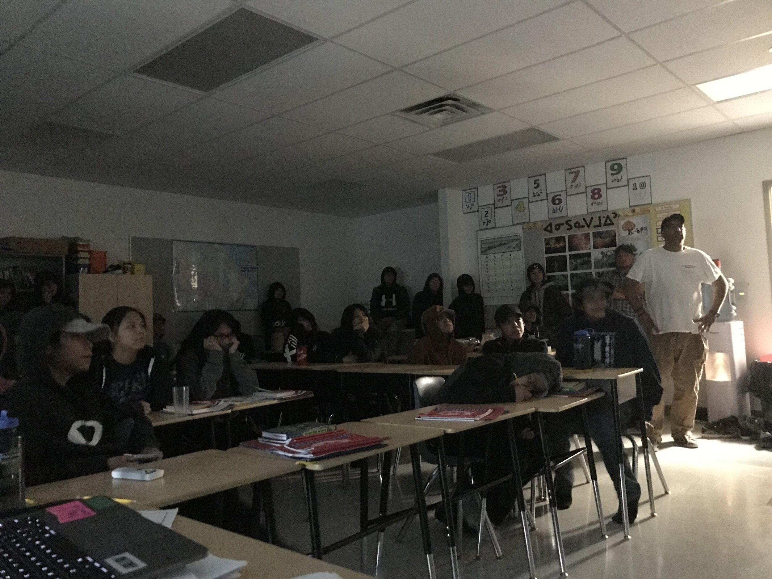 showing films to the grade 8 classes