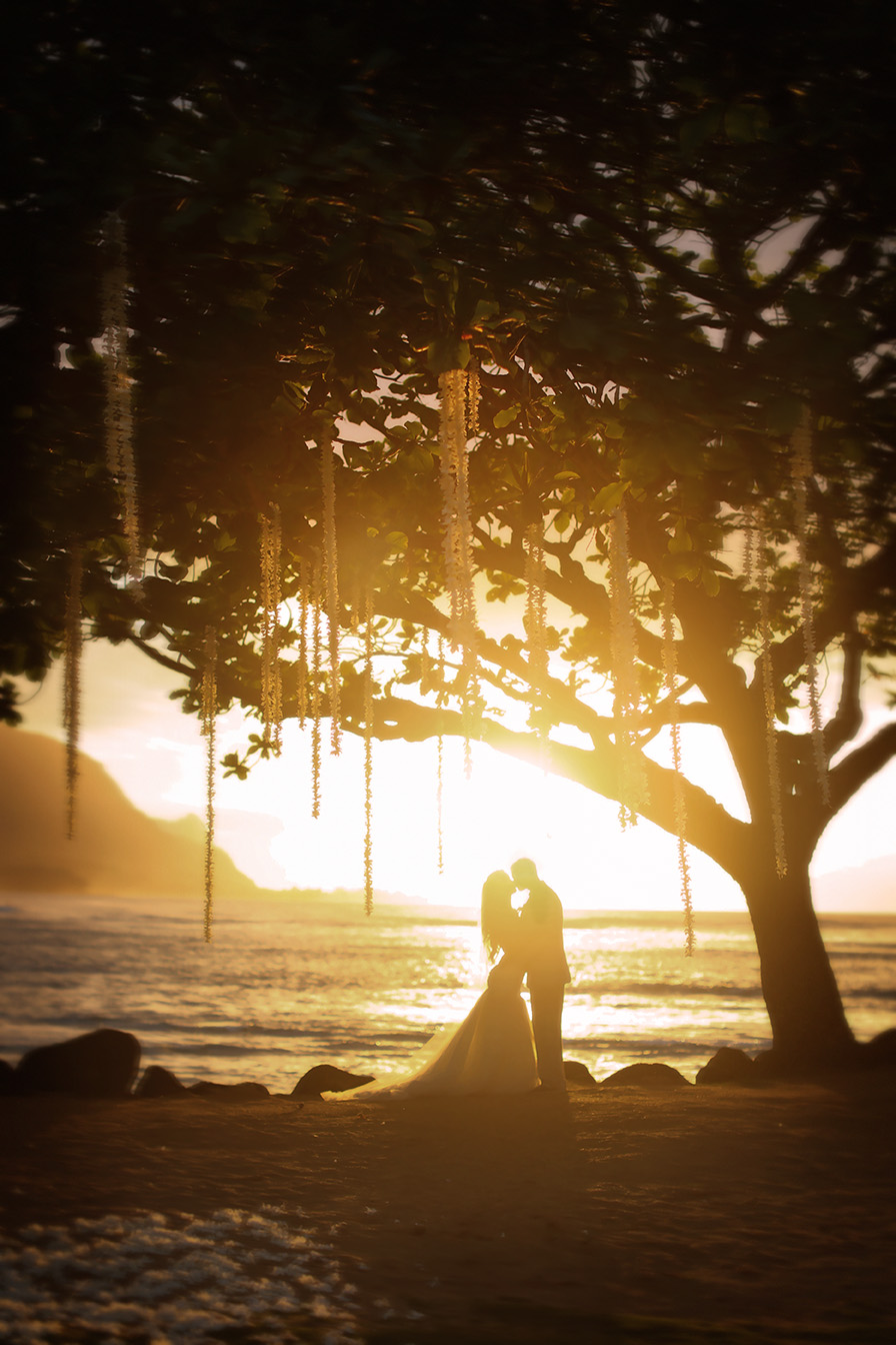 Kauai Wedding St. Regis Hotel bride and groom at sunset