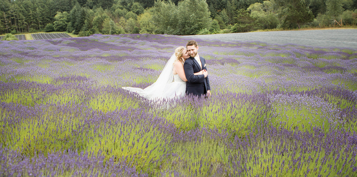San Juan Island Wedding Bride and Groom Lavender Field
