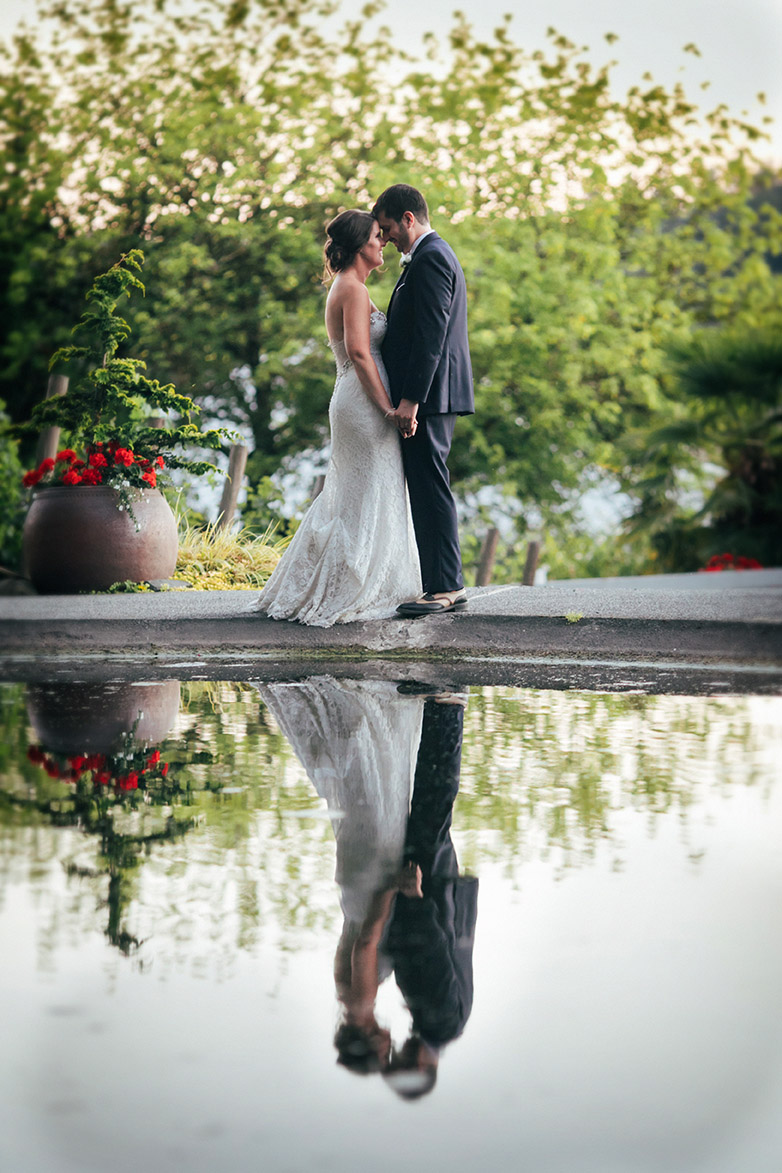 Woodinville Wedding DeLille Cellars Bride and groom water reflection