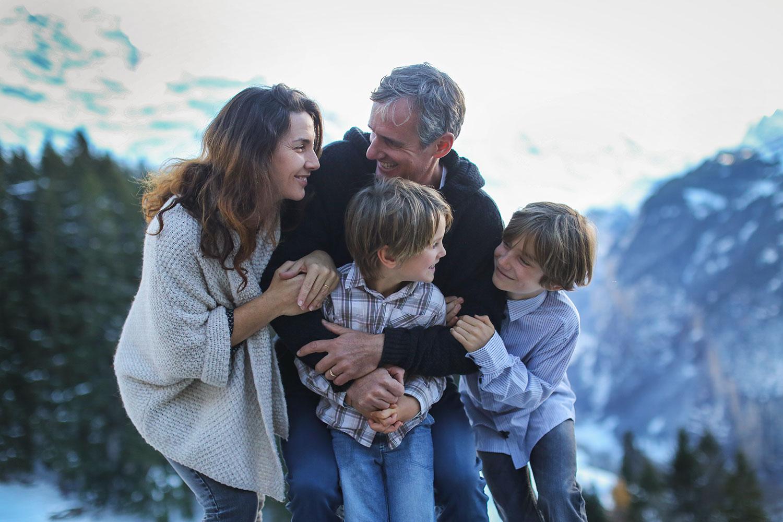 Mountain outdoor family