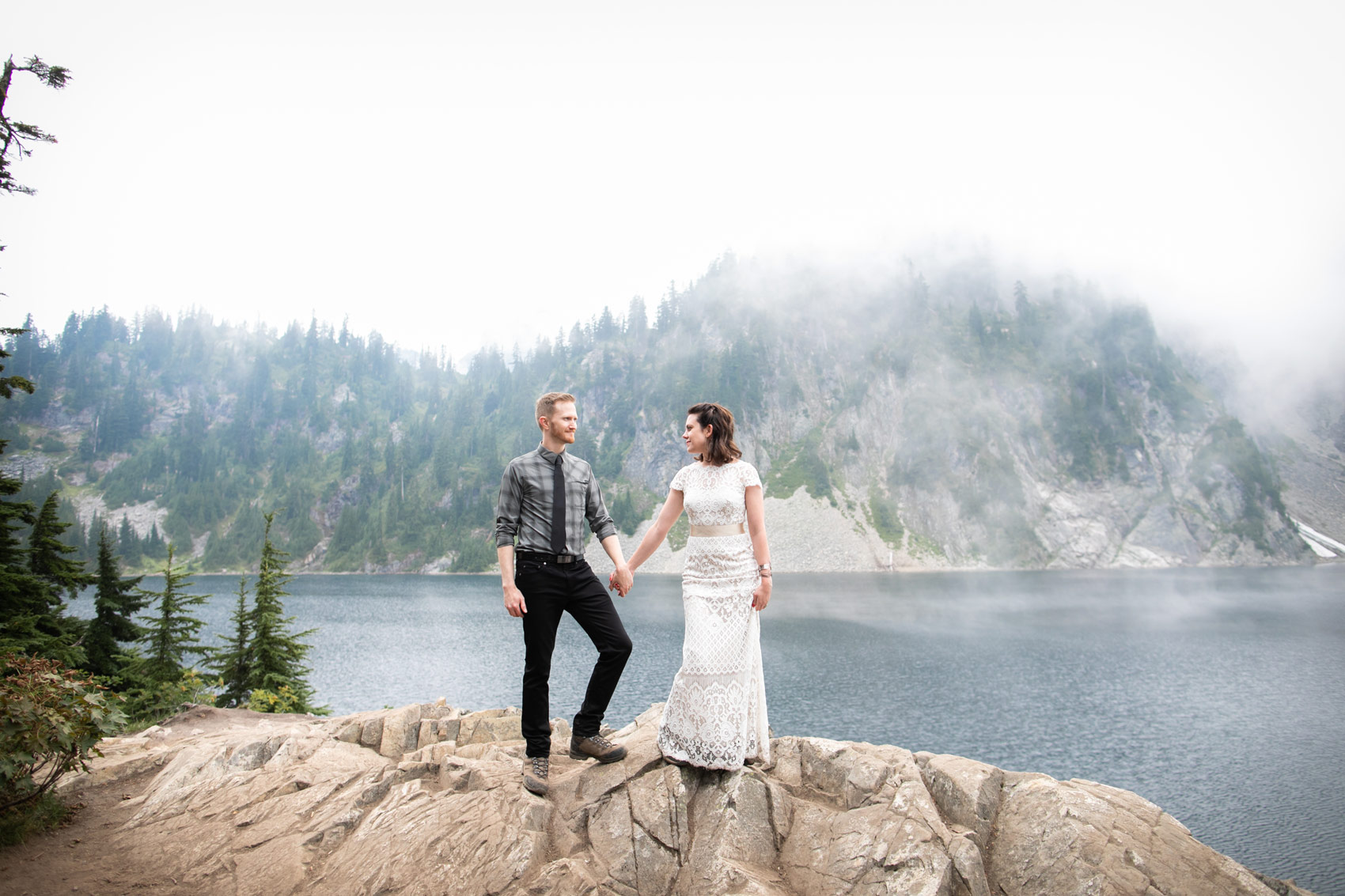 Seattle Elopement Snow Lake Mountain Wedding
