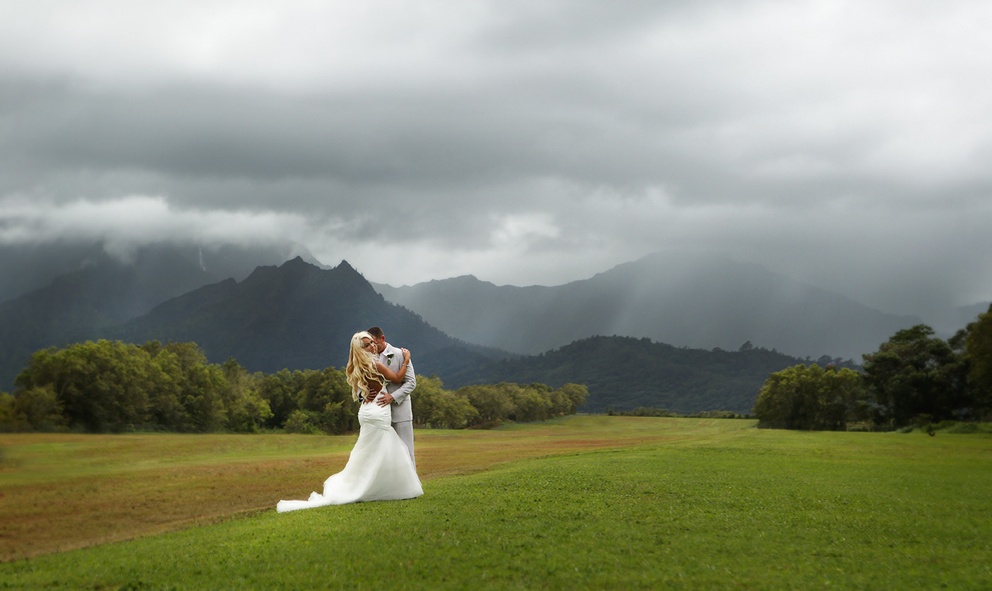 Kauai Wedding Bride and Groom with Mountains