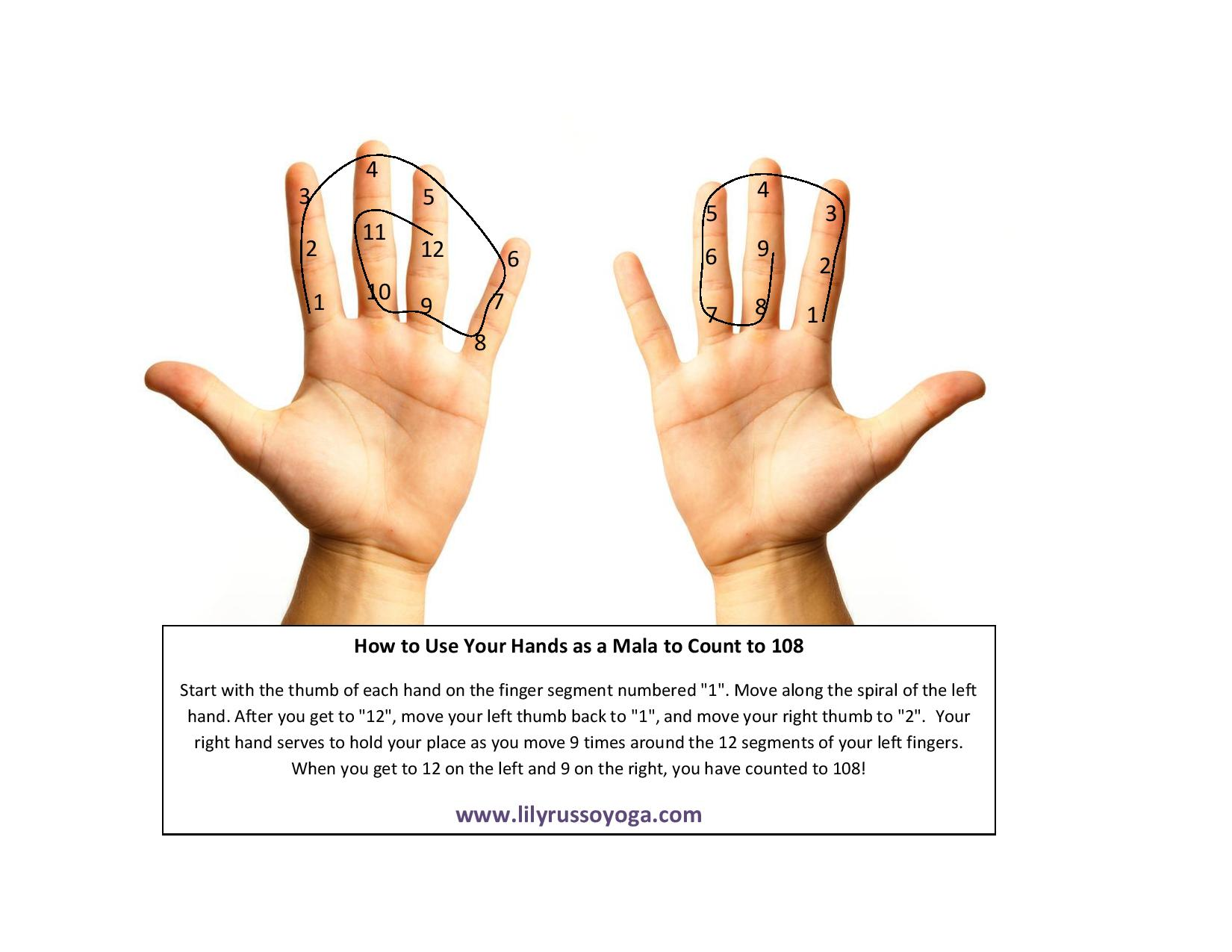 How to use your hands as a mala to count to 108