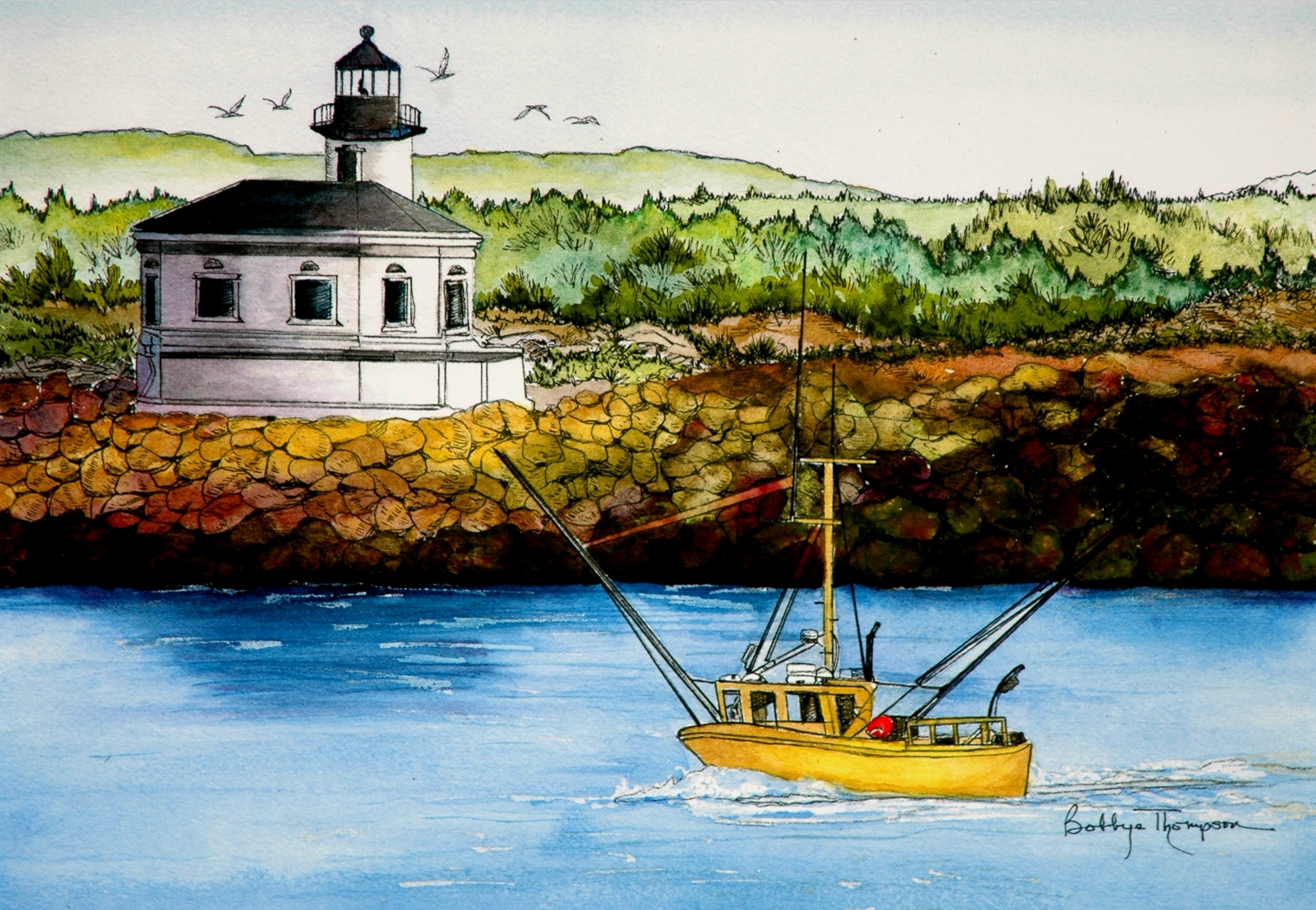 Coquille River Lighthouse - Watercolor, Pen & Ink