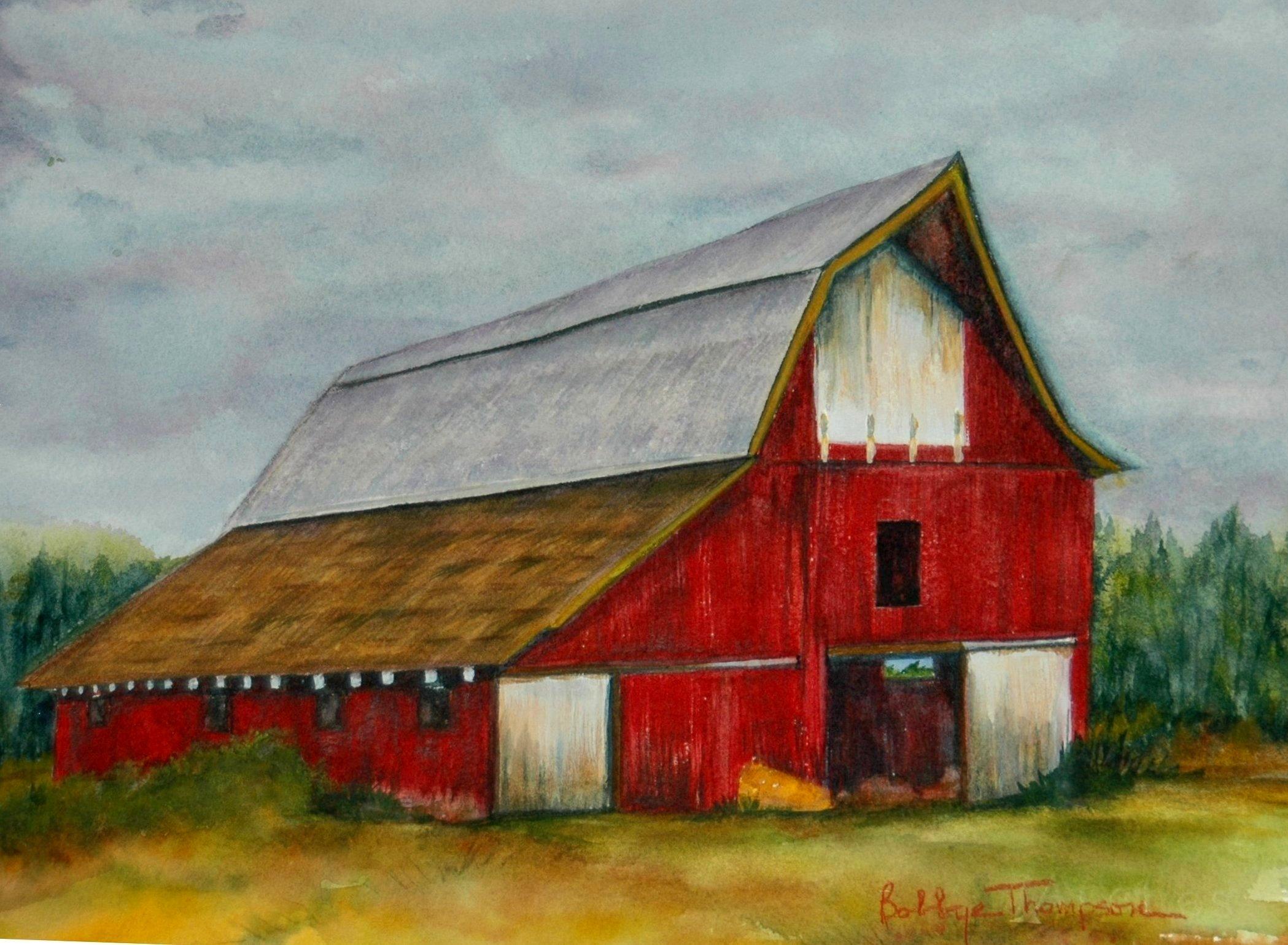 Red Barn Rainy Day