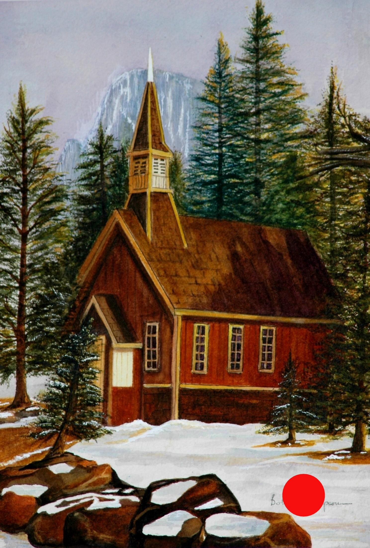 Yosemite Chapel - Watercolor