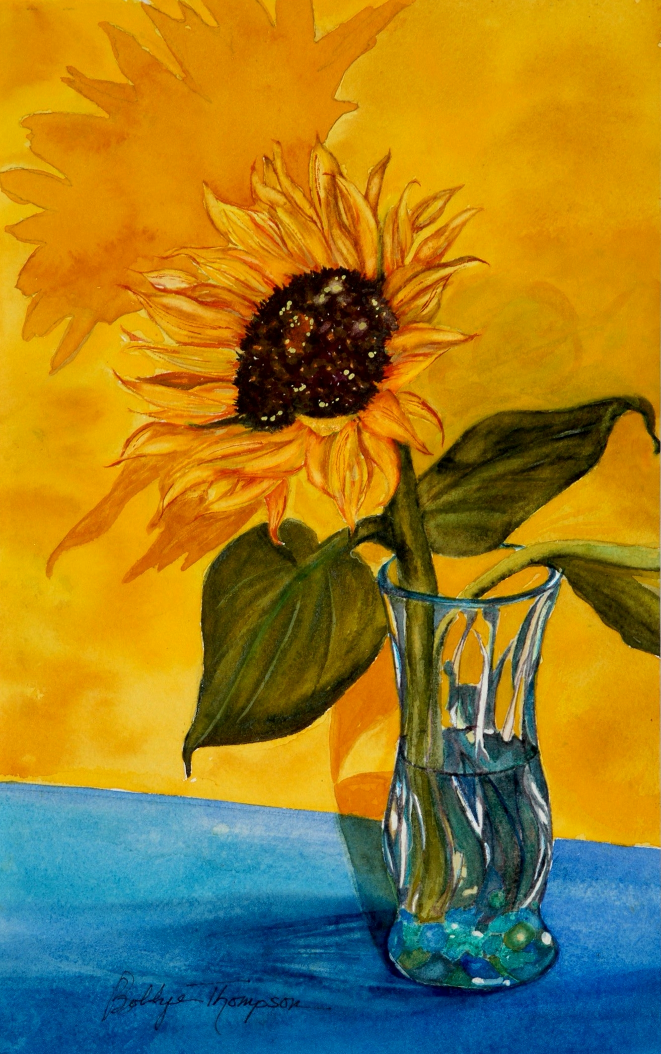 Sunflower & Shadows - Watercolor.JPG