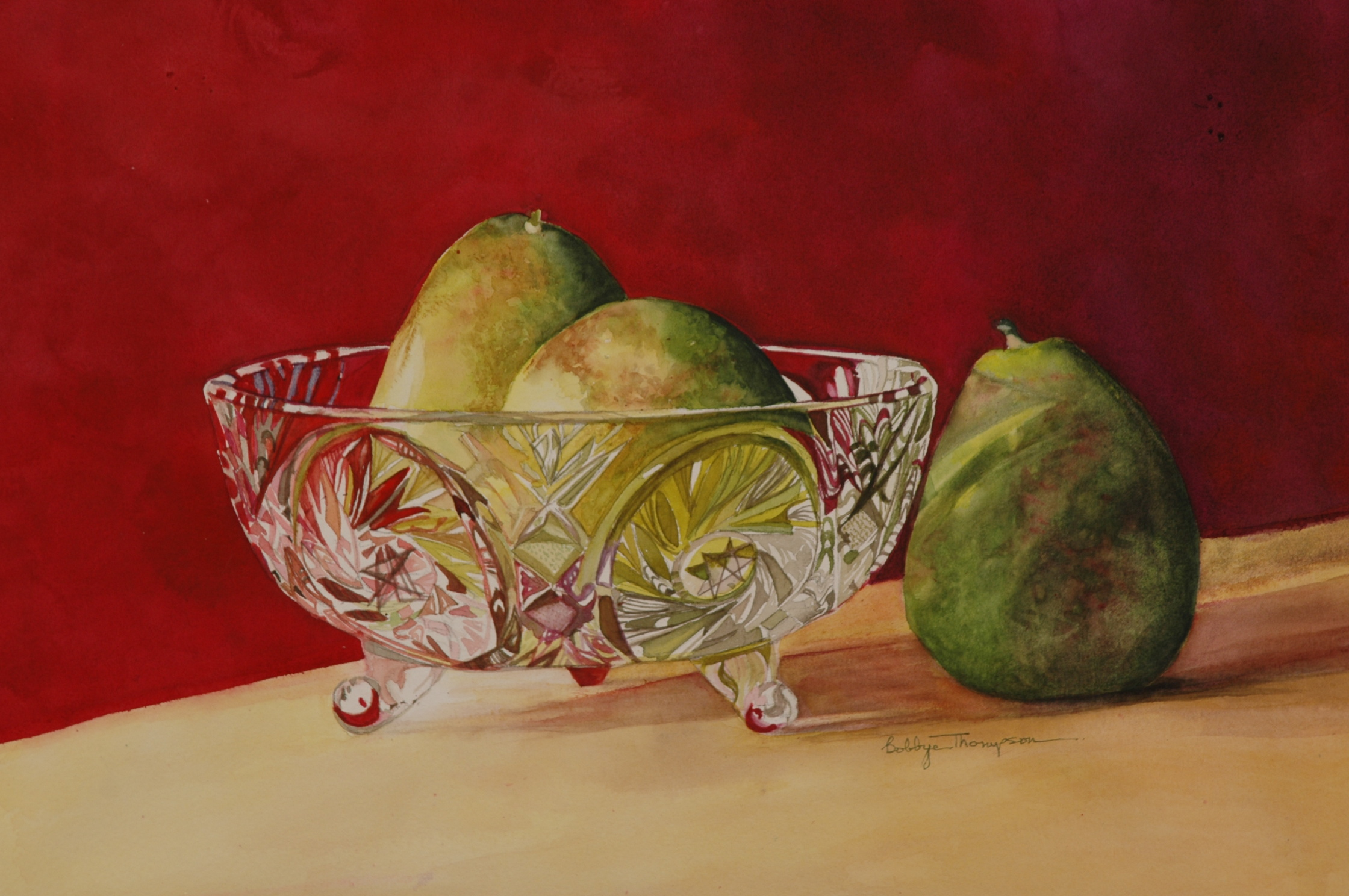 Crystal Bowl with Pears 2--SOLD.JPG