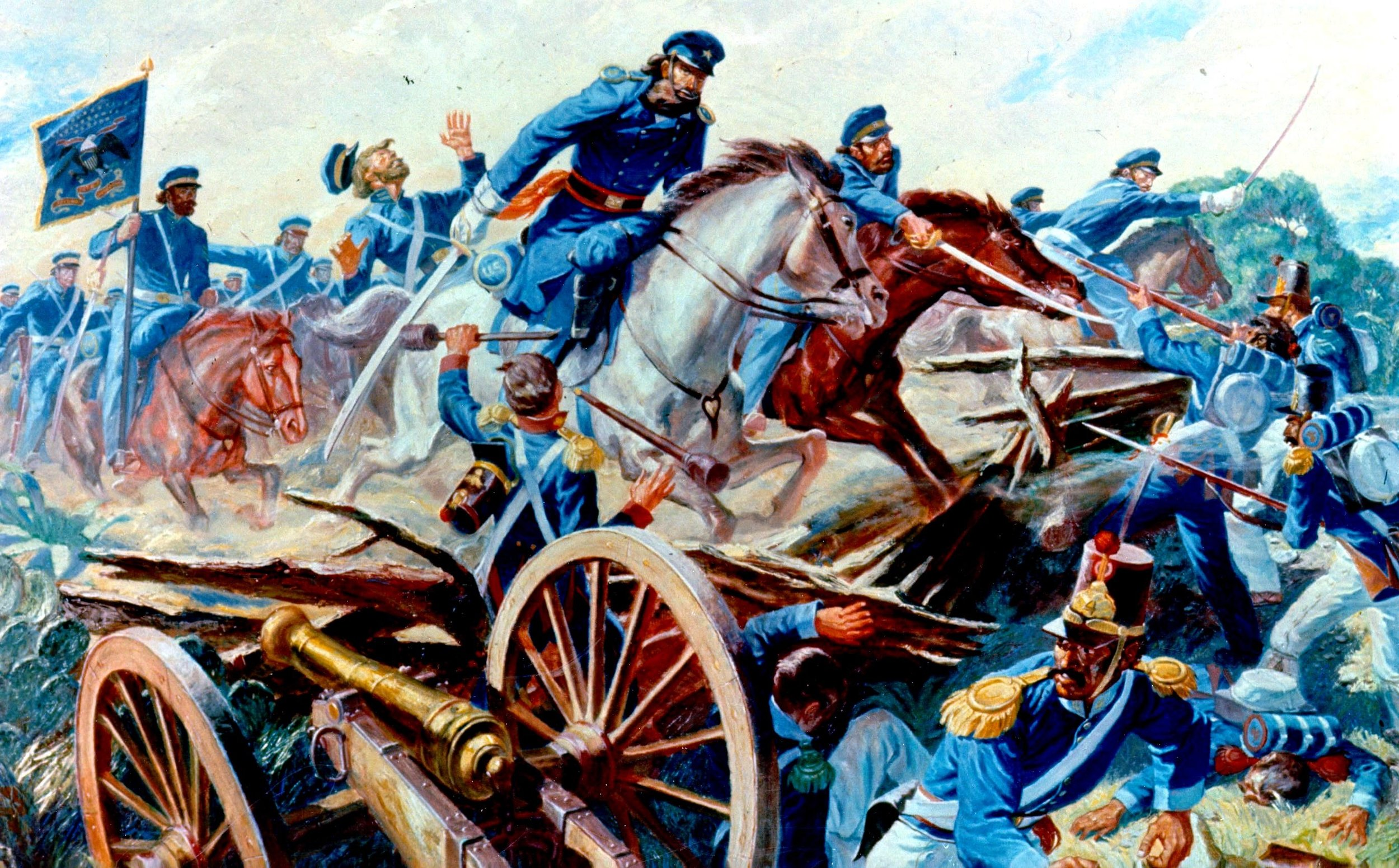 Second Dragoons charge in Mexican War, 1846.  Painting Courtesy Wikimedia Commons.