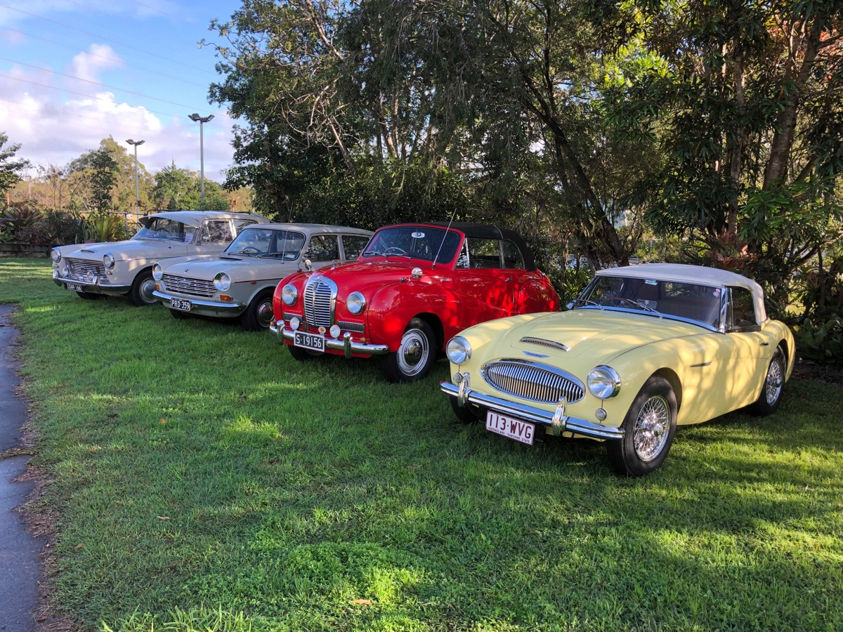 Line up of four Austins (Mark Ellem's 1800 was off on family duties)